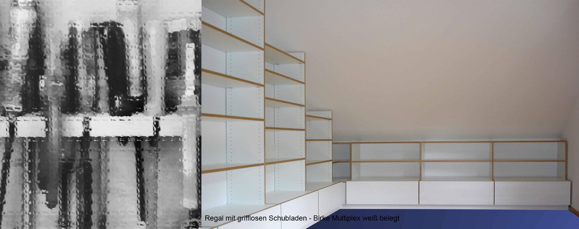 Regal ums Eck in Multiplex weiss vom Holzwurm bei Freiburg