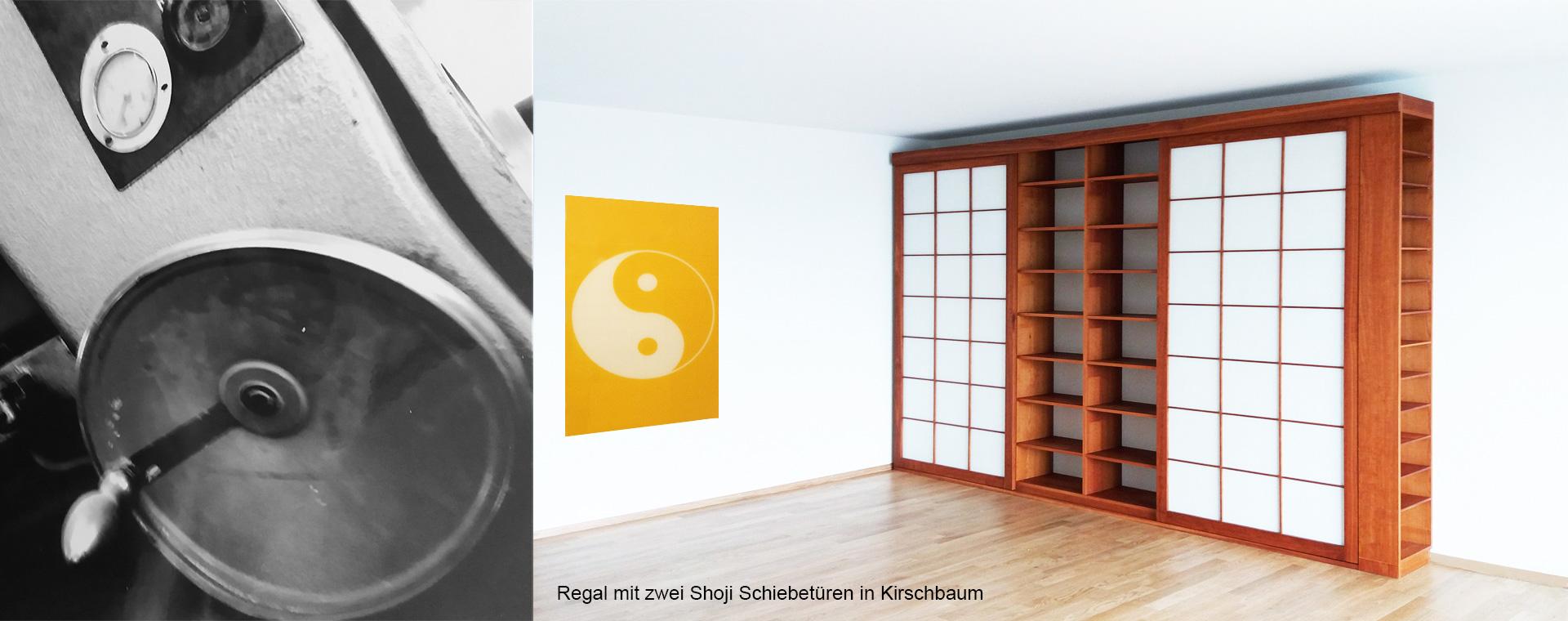 Regal mit Schiebetüren Shoji und Yin Yang Bild
