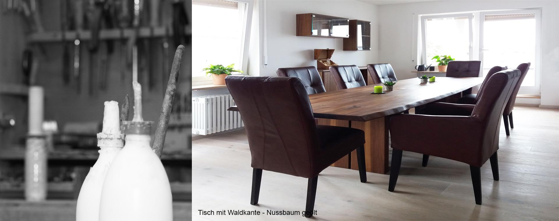 Tisch in Nussbaum Massivholz mit Waldkante und Werkstattimpression