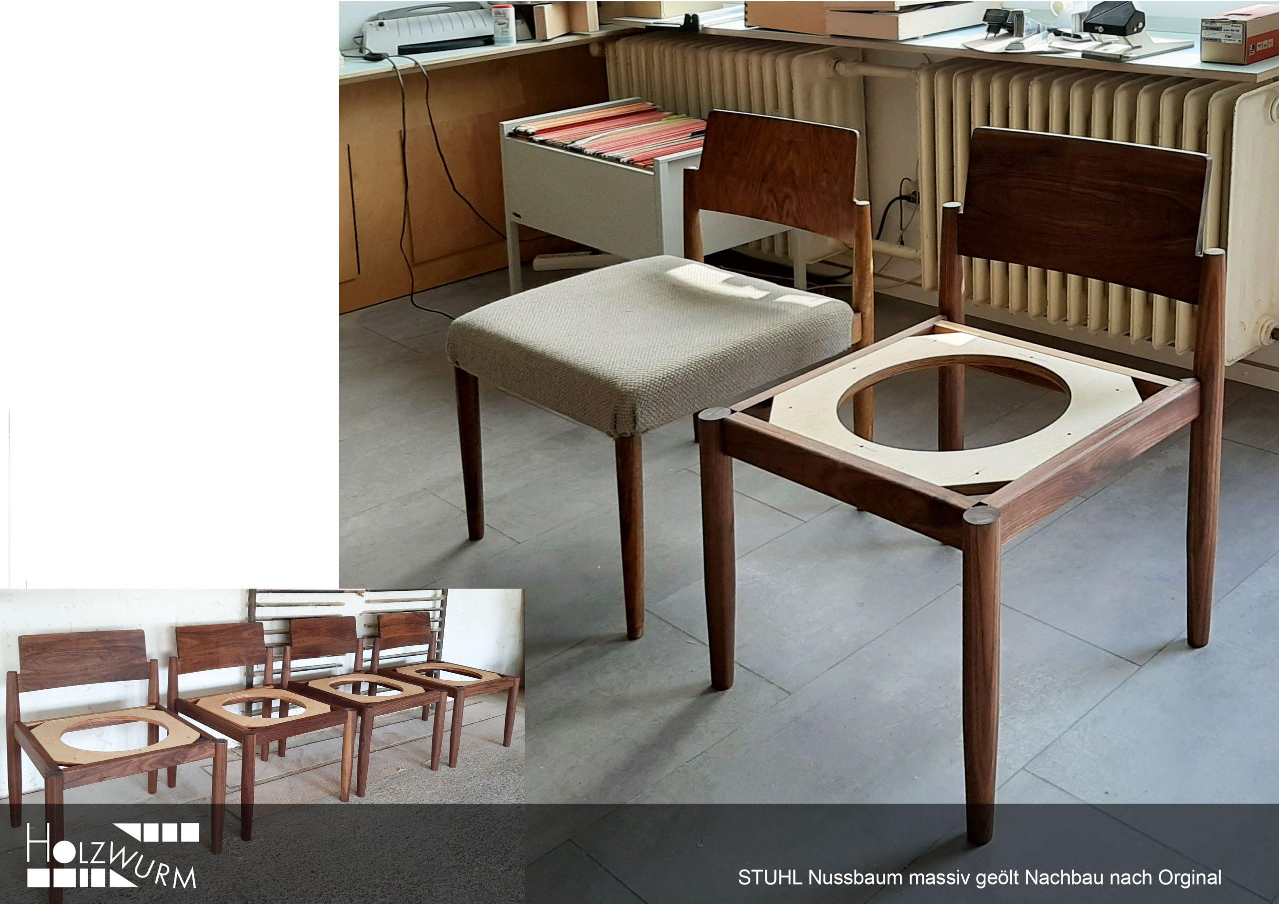 Stuhl Nachbau Original Massivholz Nussbaum