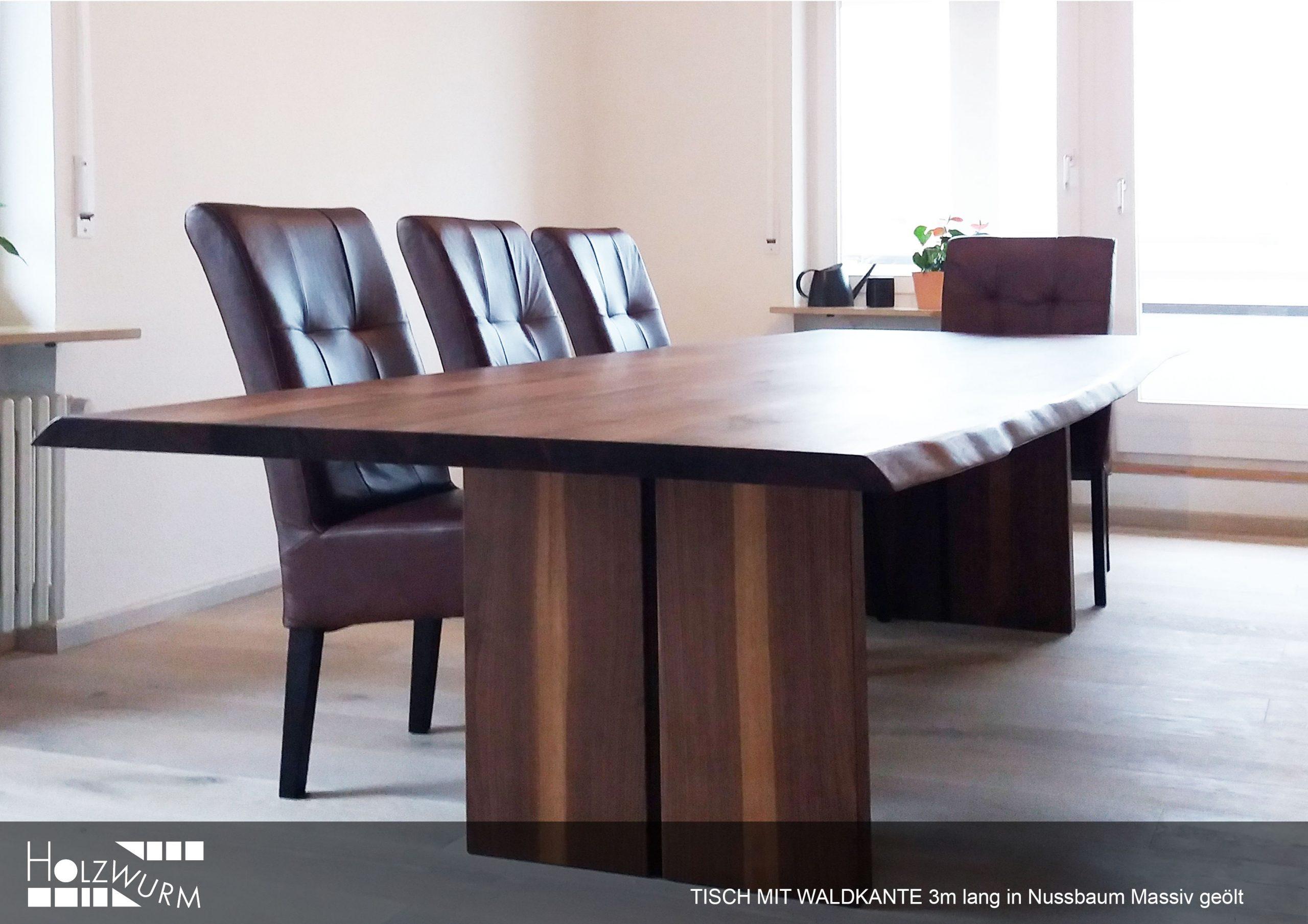 Tisch Massivholz Waldkante Nussbaum geölt