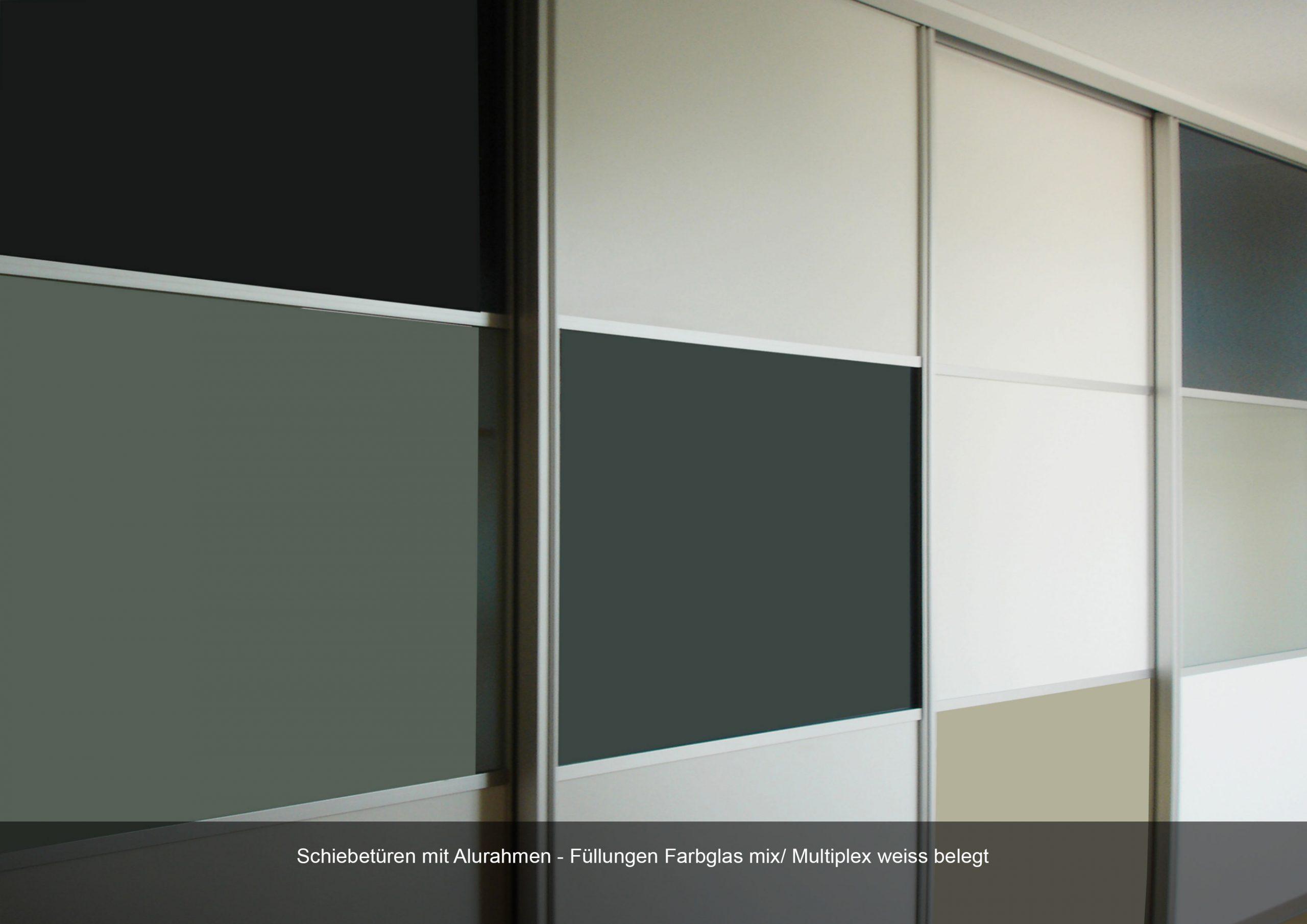 Schiebetür Alurahmen Farbglas mix weiss Multiplex