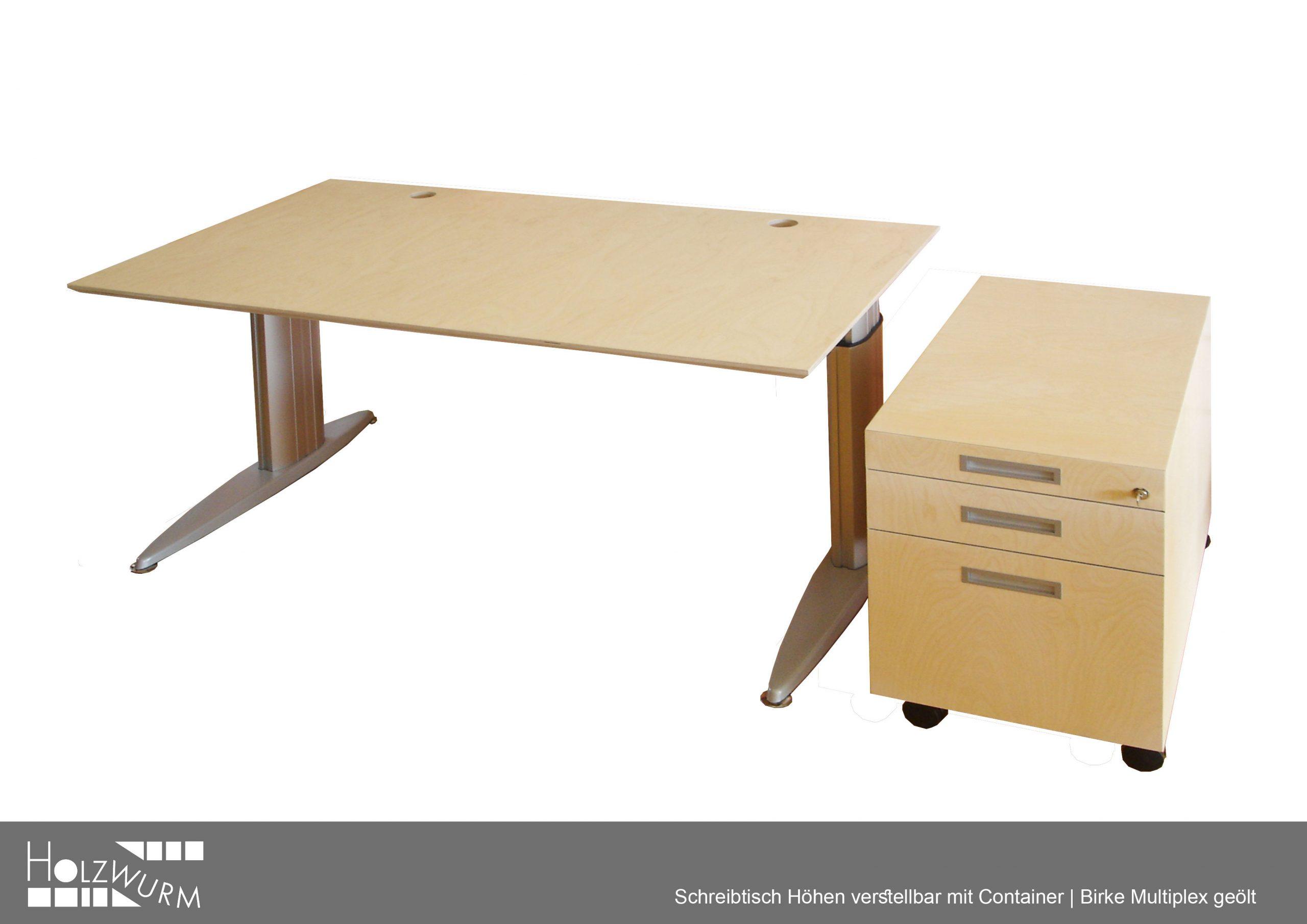 Schreibtisch höhenverstellbar Container Multiplex Birke
