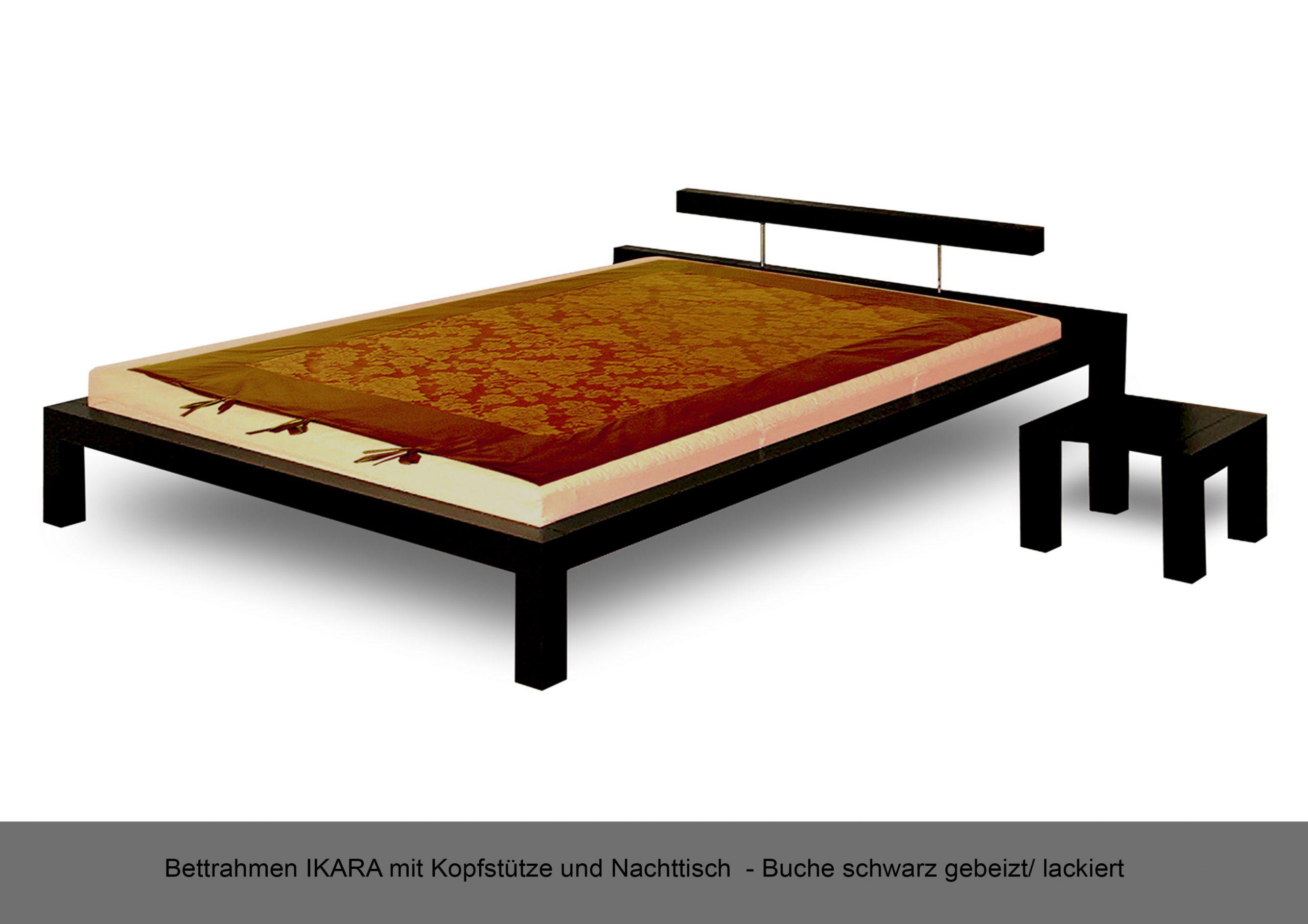 Bettrahmen Massivholz schwarz IKARA Kopfstütze Nachttisch Buche gebeizt lackiert