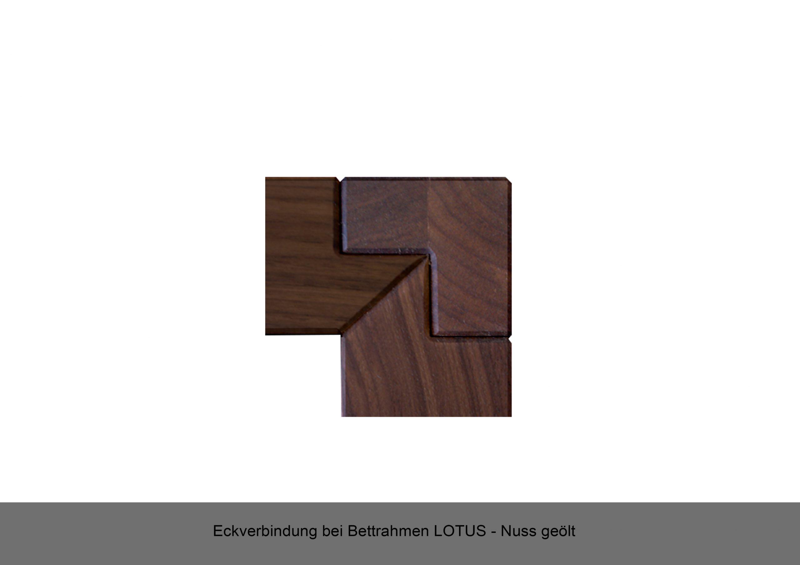 Eckverbindung Massivholzbett Bettrahmen LOTUS Nuss geölt