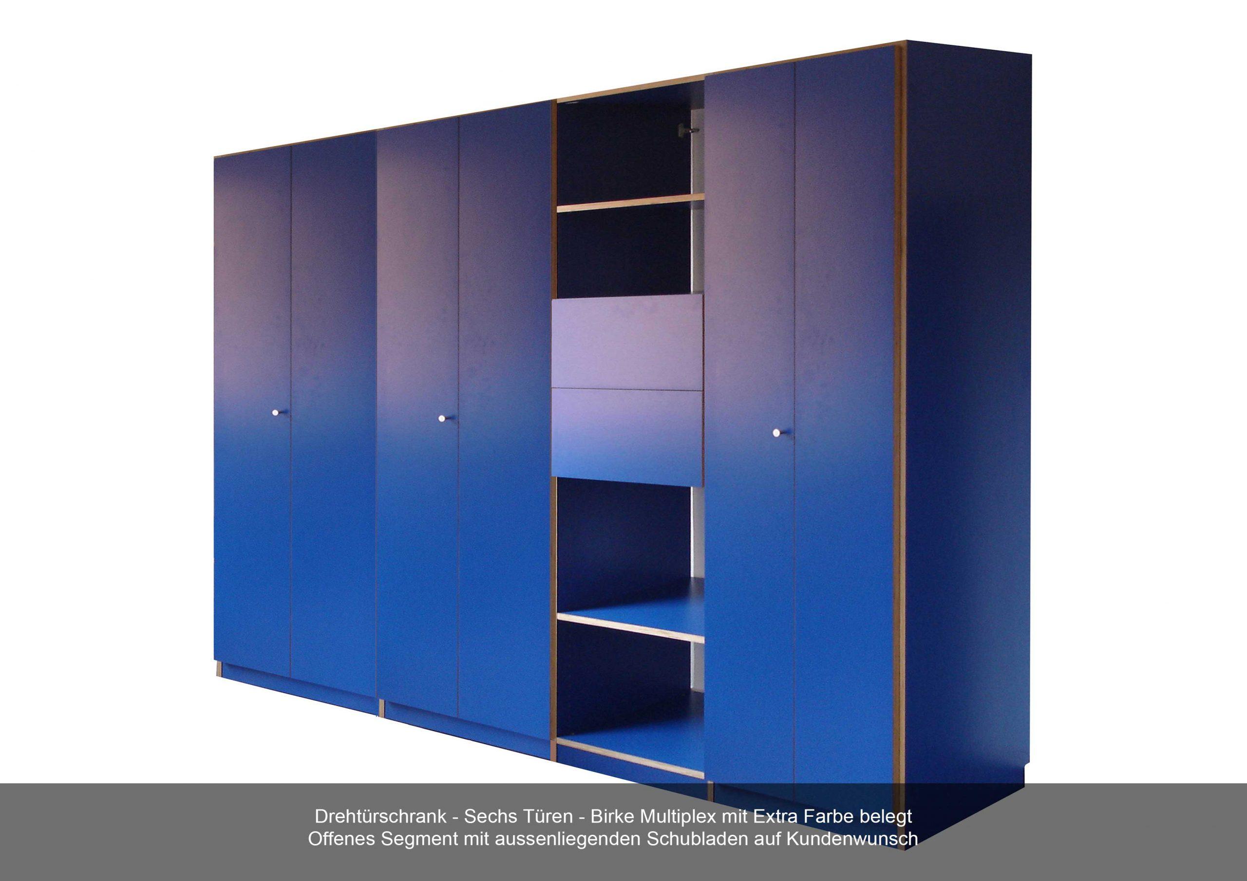 Drehtürschrank Birke Multiplex blau sechs Türen offen Segment Schubladen aussenliegend