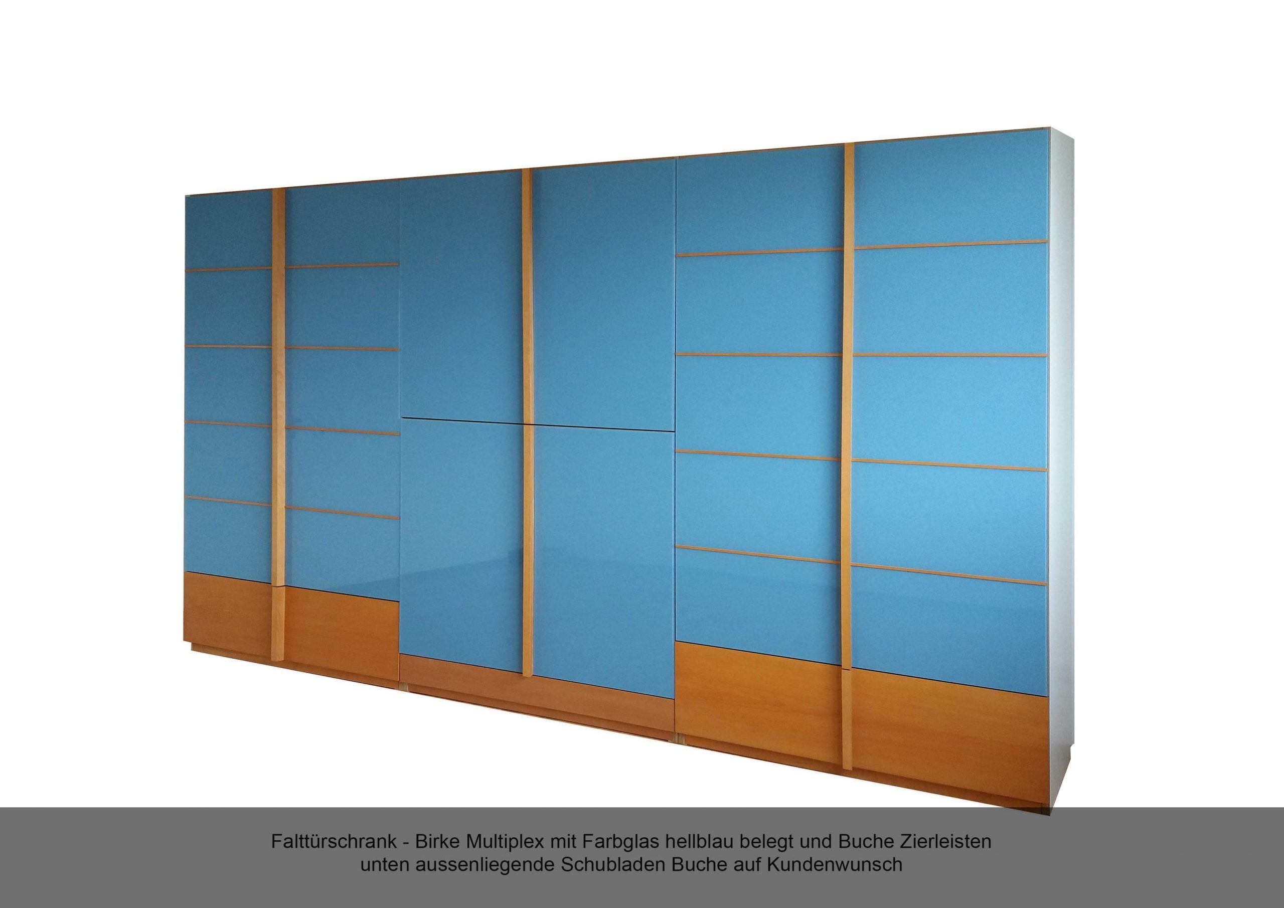 Falttürschrank Farbglasfront hellblau Zierleiste Buche Schubladen Birke Multiplex