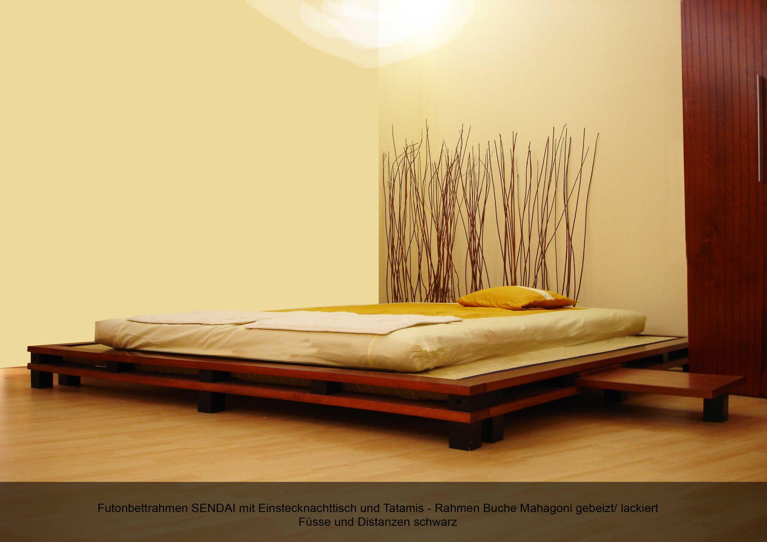 Futonbettrahmen Massivholz Einstecknachttisch SENDAI Tatamis Futon Buche Mahagoni gebeizt lackiert
