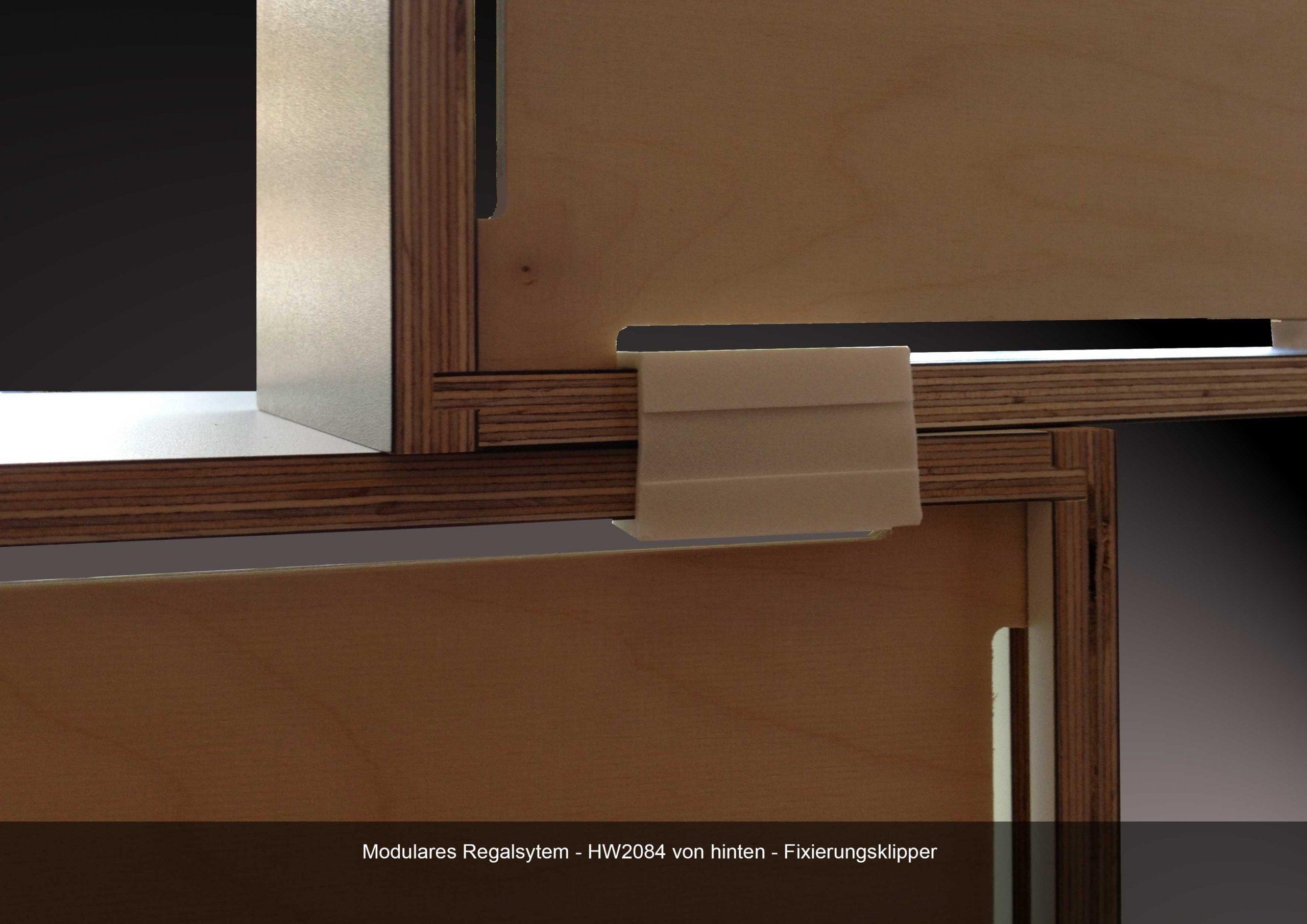 Modulares Regalsystem Fixierung Kliooer HW 2084 Multiplex Birke