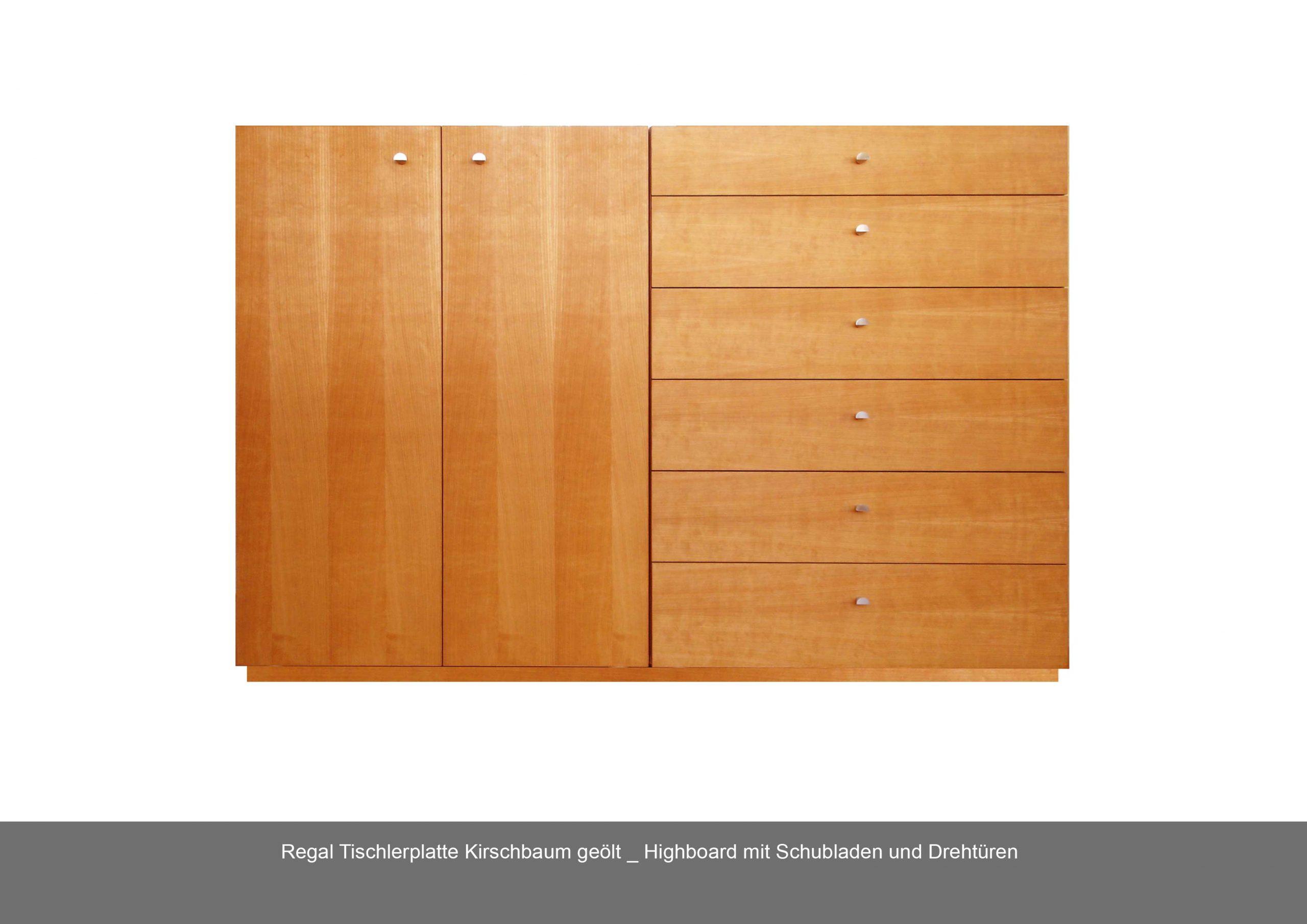 Regal Highboard Schublade Drehtüre Kirschbaum geölt Tischlerplatte