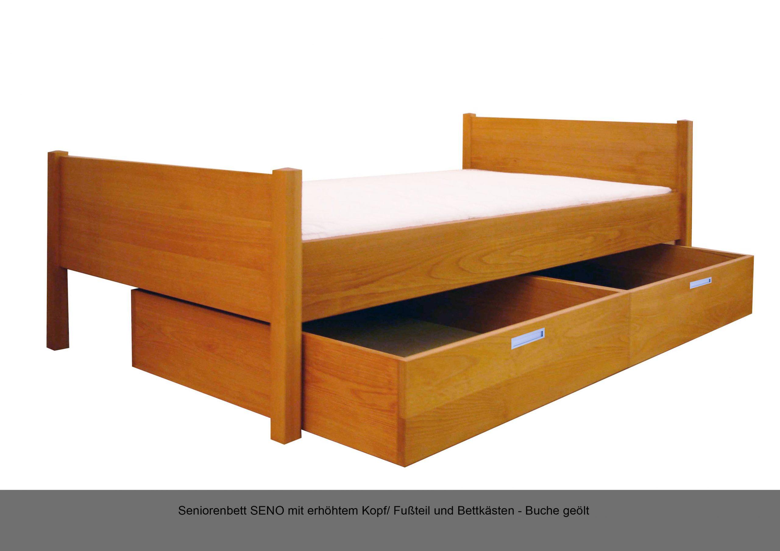 Seniorenbett Massivholz Bettkasten erhöht Fussteil Kopfteil SENO Buche geölt