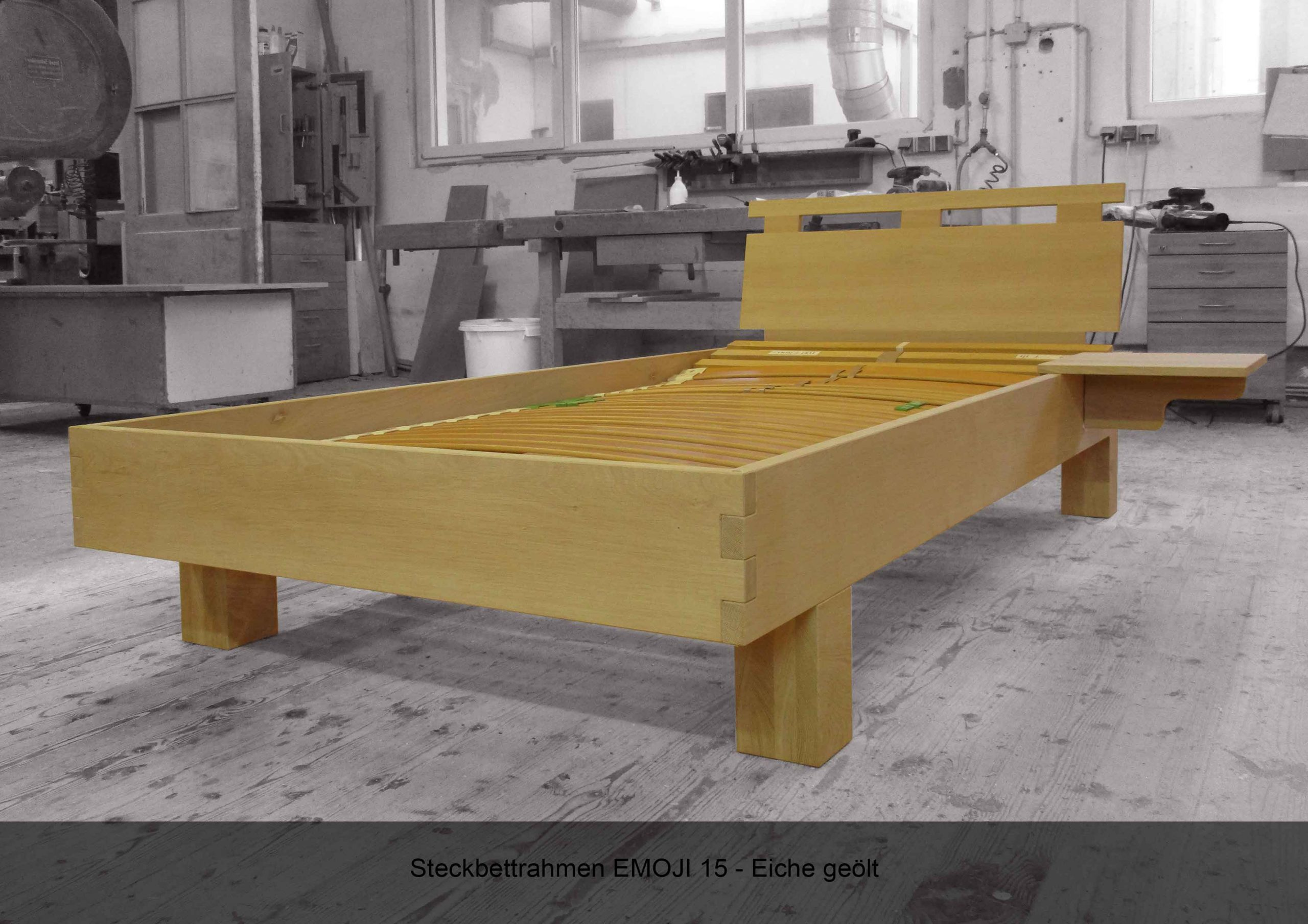 Steckbett Rahmen metallfrei Massivholz EMOJI 15 Eiche geölt