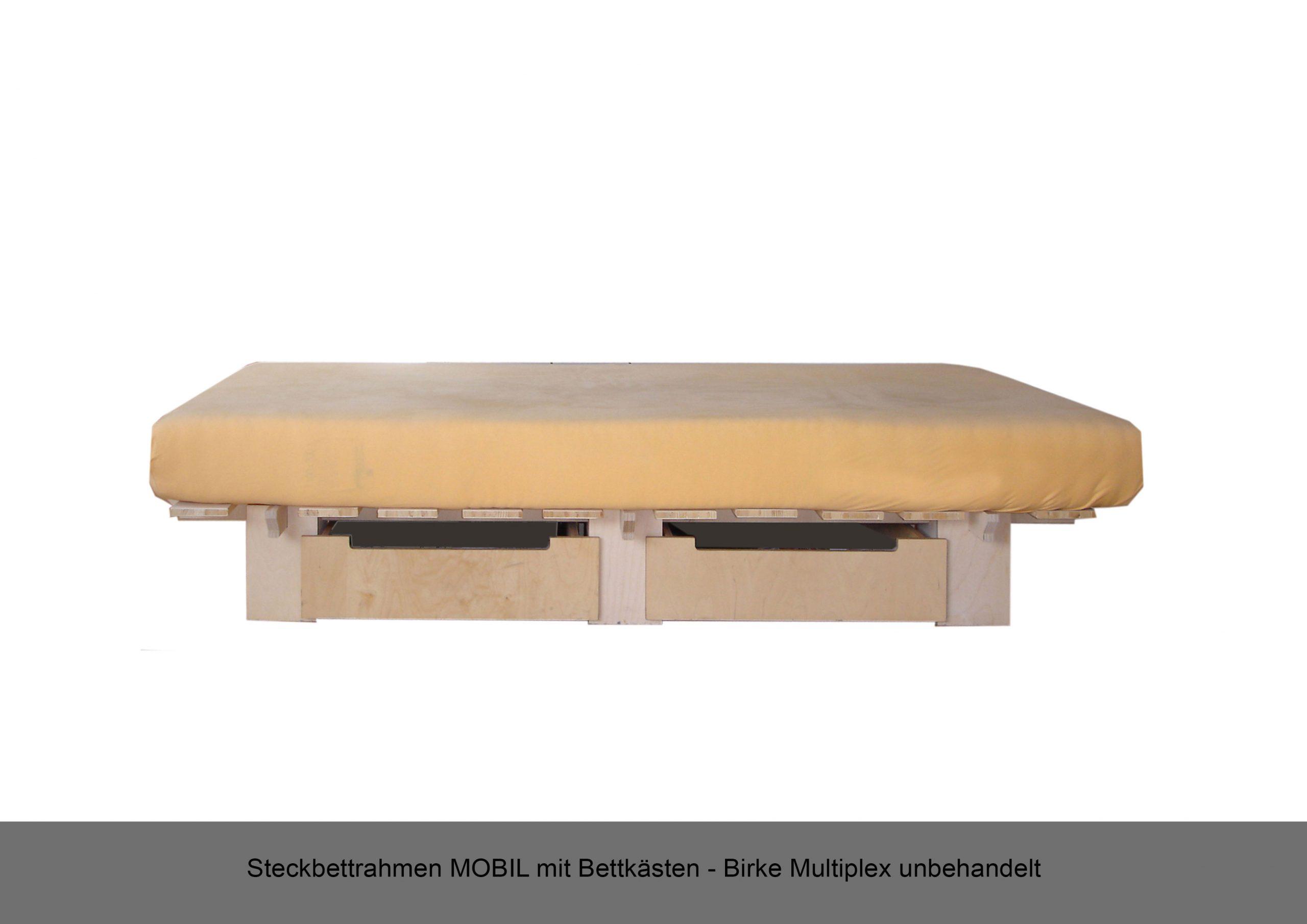 Steckbettrahmen Bettkästen MOBIL Multiplex Birke unbehandelt