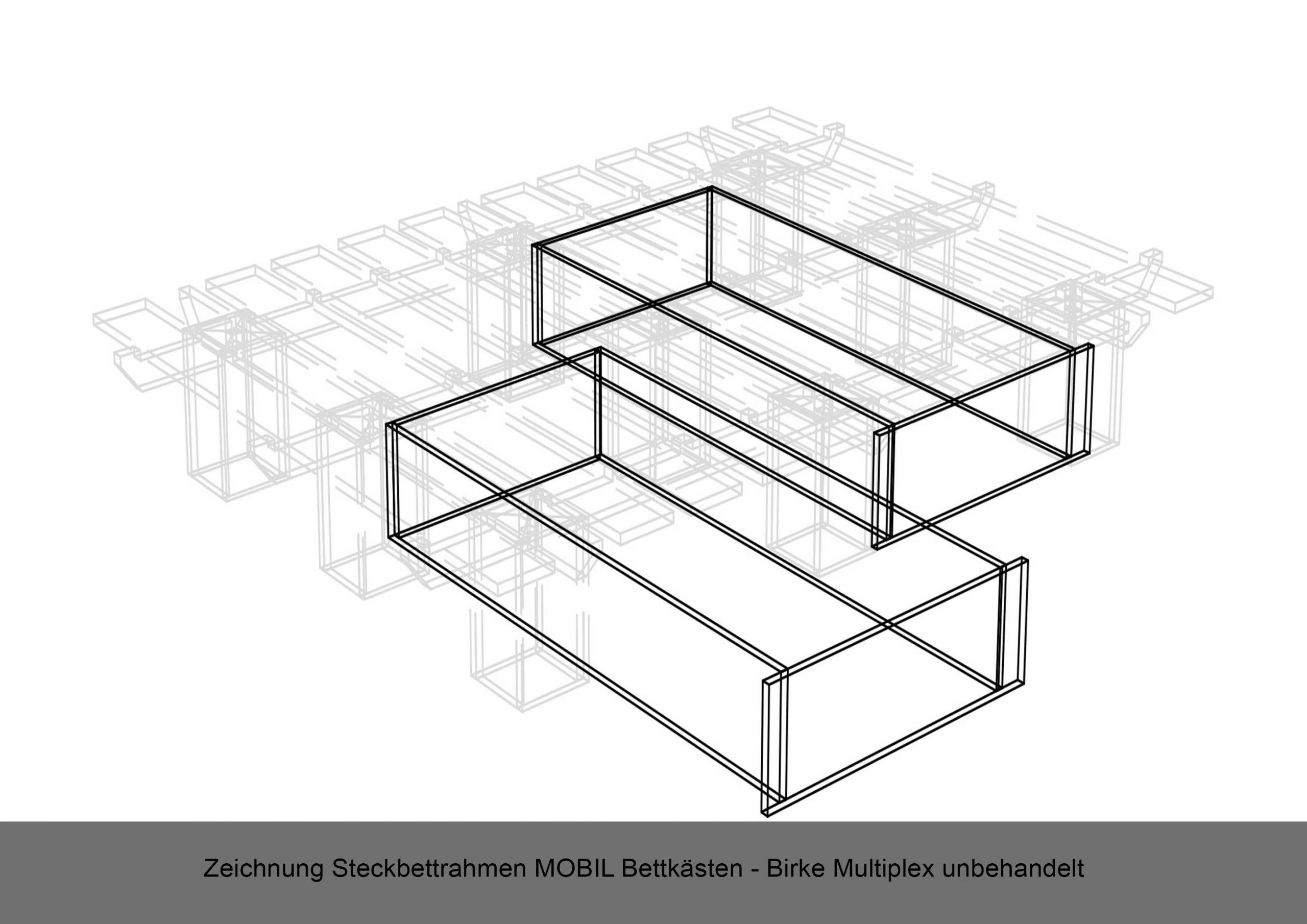 Steckbettrahmen Bettkasten Zeichnung MOBIL Multiplex Birke unbehandelt