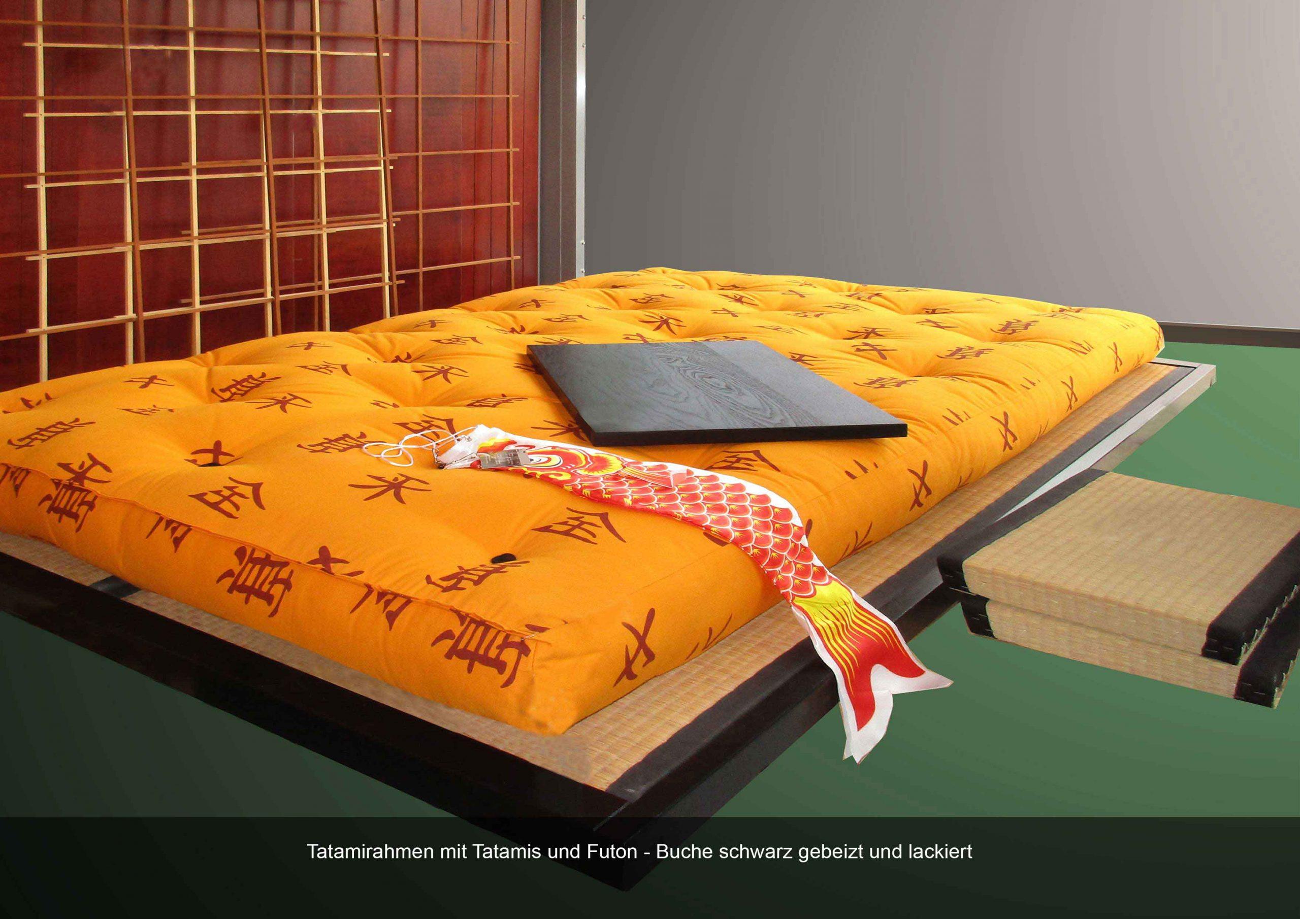 Tatamirahmen Massivholz Futon Buche schwarz gebeizt lackiert