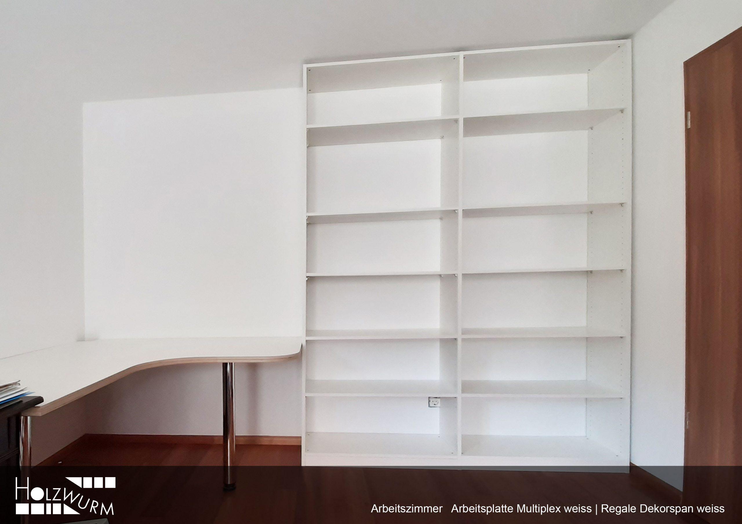 Arbeitszimmer mit Arbeitsplatte Multiplex weiss beschichtet