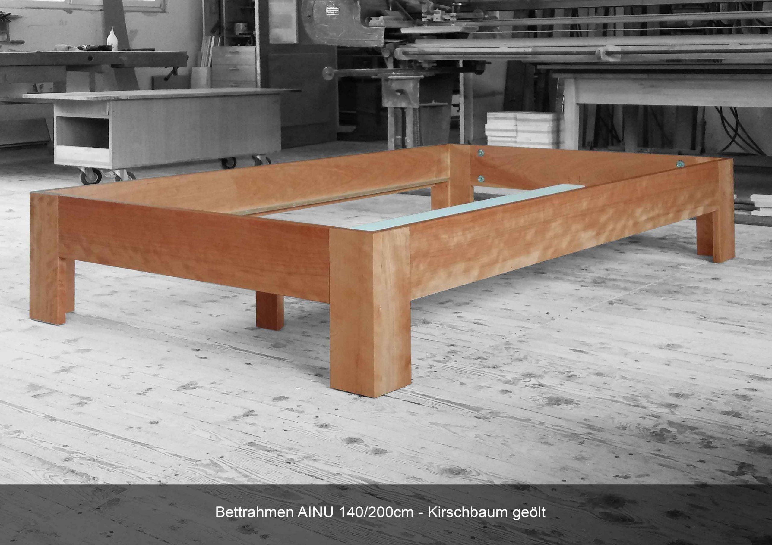 Bettrahmen Massivholz AINU 140 x 200 cm Kirschbaum geölt