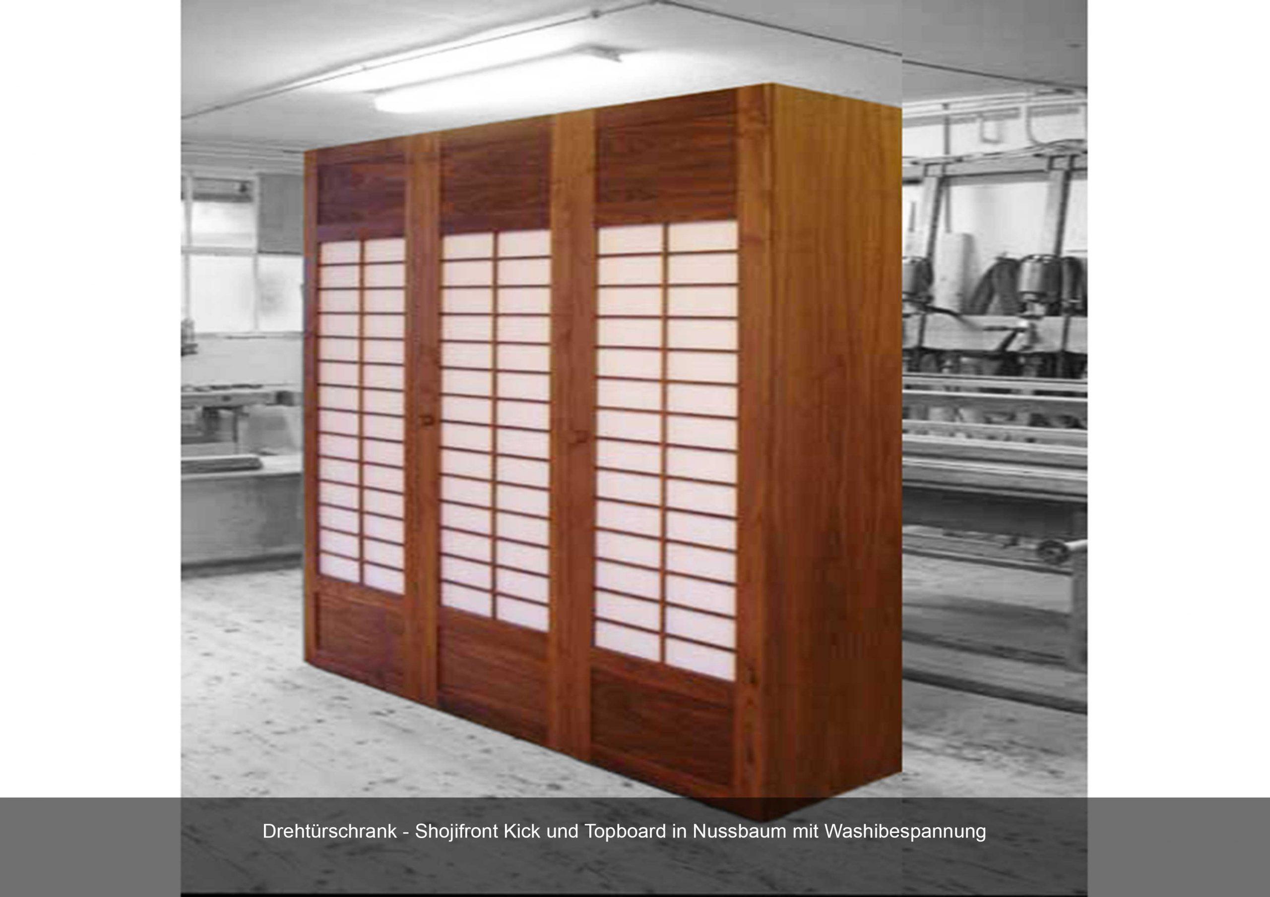 Drehtürschrank Shojifront Nussbaum Washibespannung Kickboard Topboard