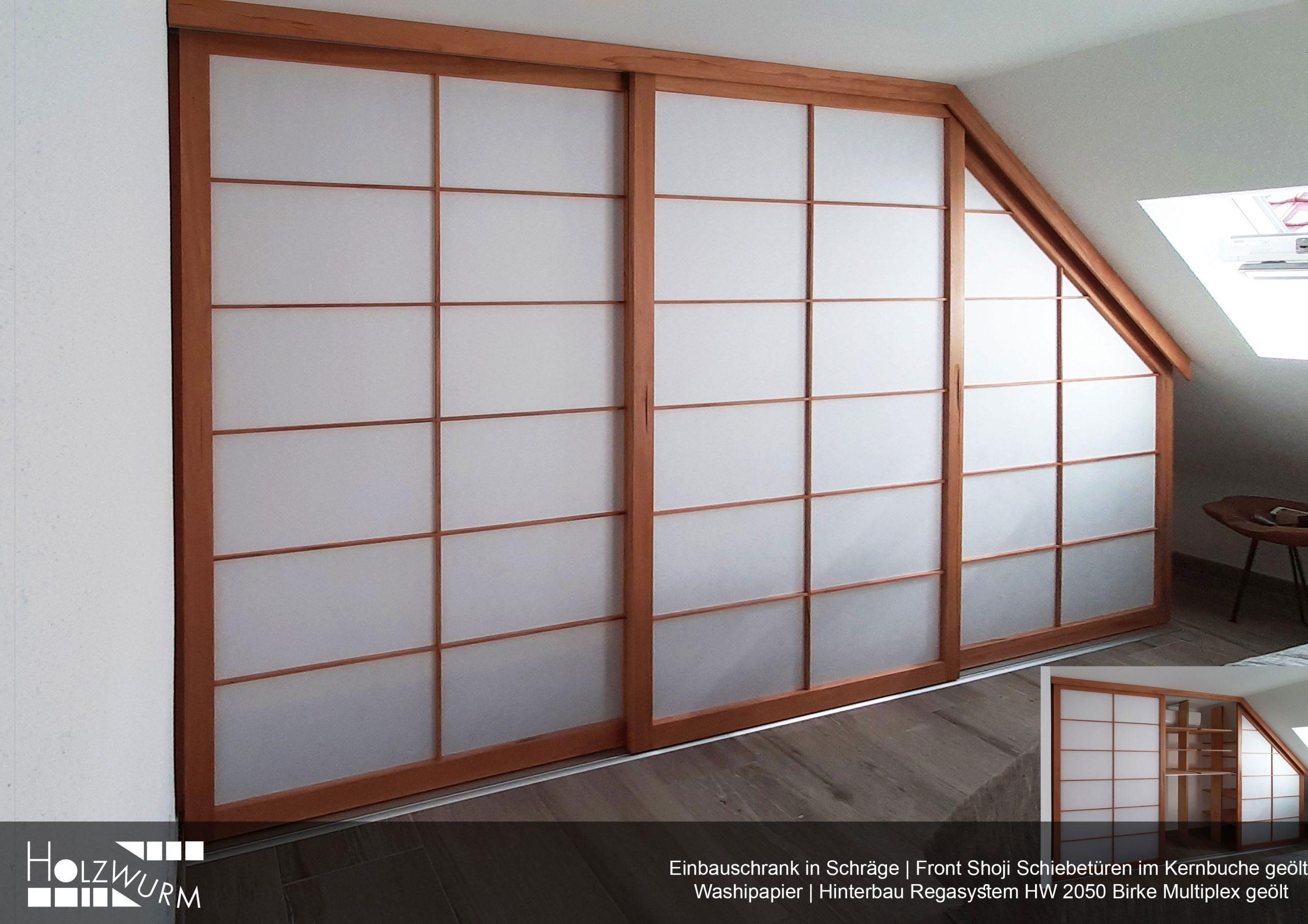 Shoji Einauschrank in Wandschräge Kernbuche geölt. Bespannung Washipapier
