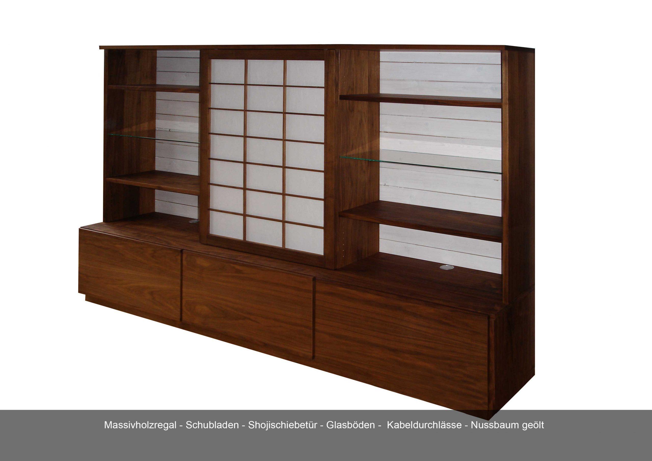 Massivholzregal Schubladen Schoji Schiebetür Glasböden Kabeldurchlass Nussbaum geölt