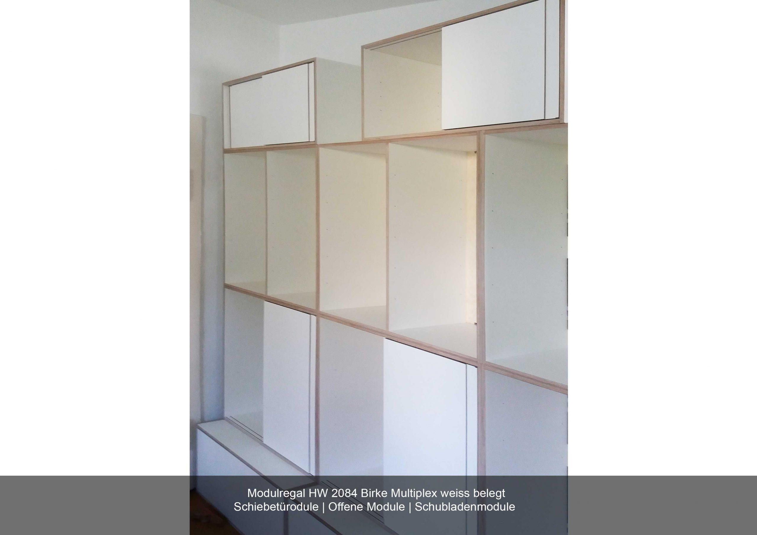 Modulregal weiss Schiebetüren offen Schubladen modular Multiplex Birke