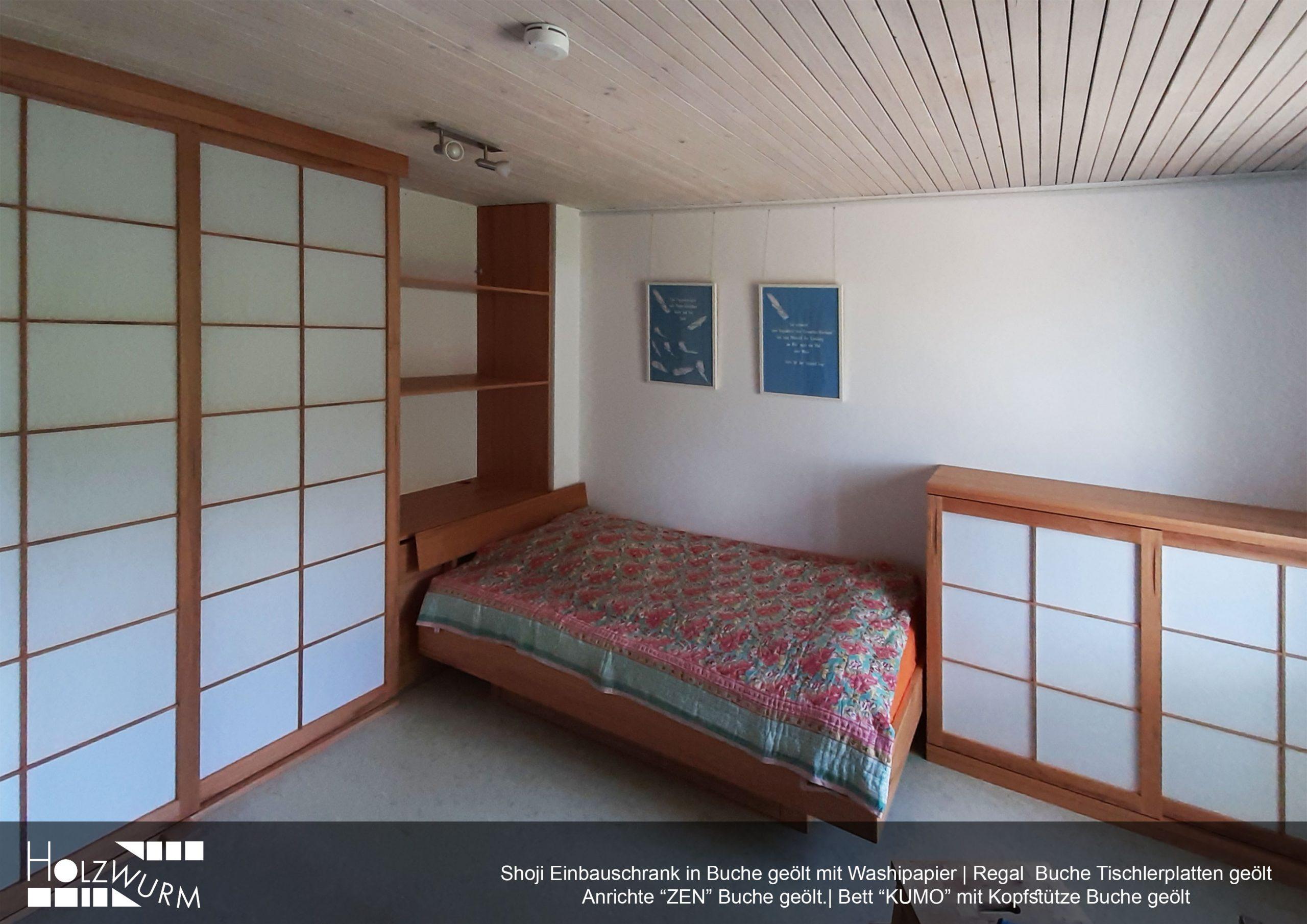 Shoji Zimmer mit Einbauschrank, Regal, Anrichte und Bett