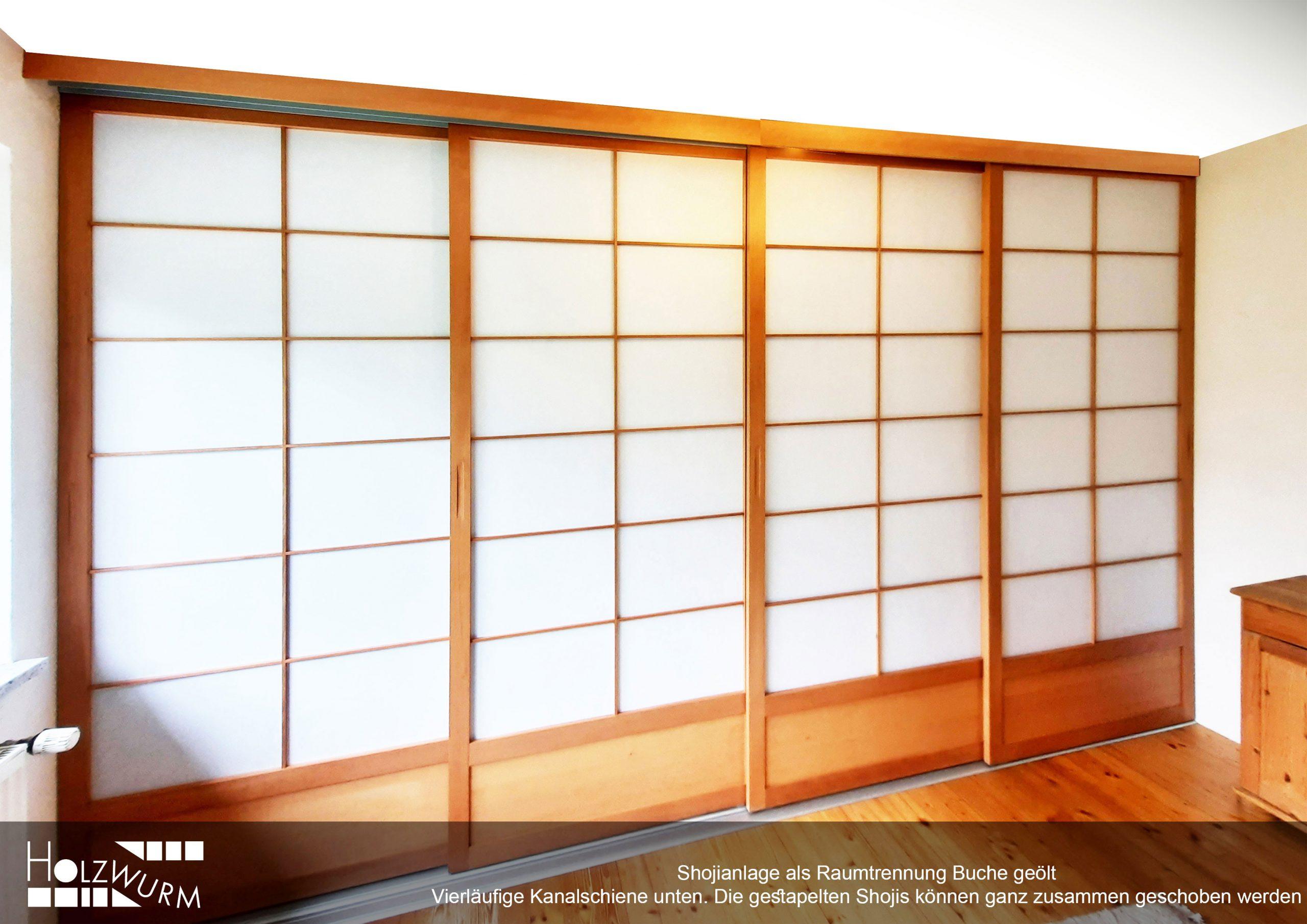 Shoji Raumtrennung Buche vier Laufkanäle