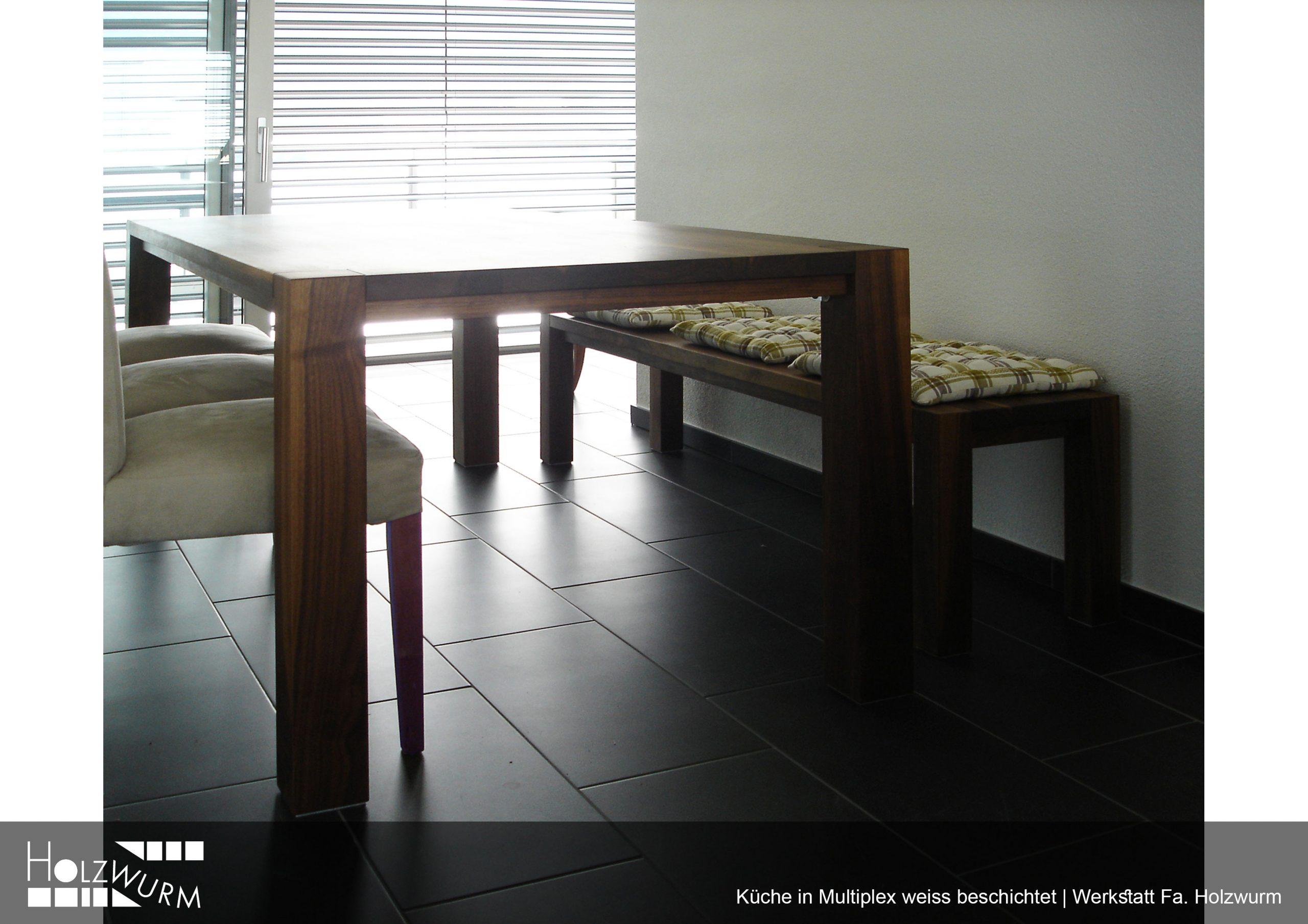 Tisch und Bank in Massivholz Nussbaum geölt