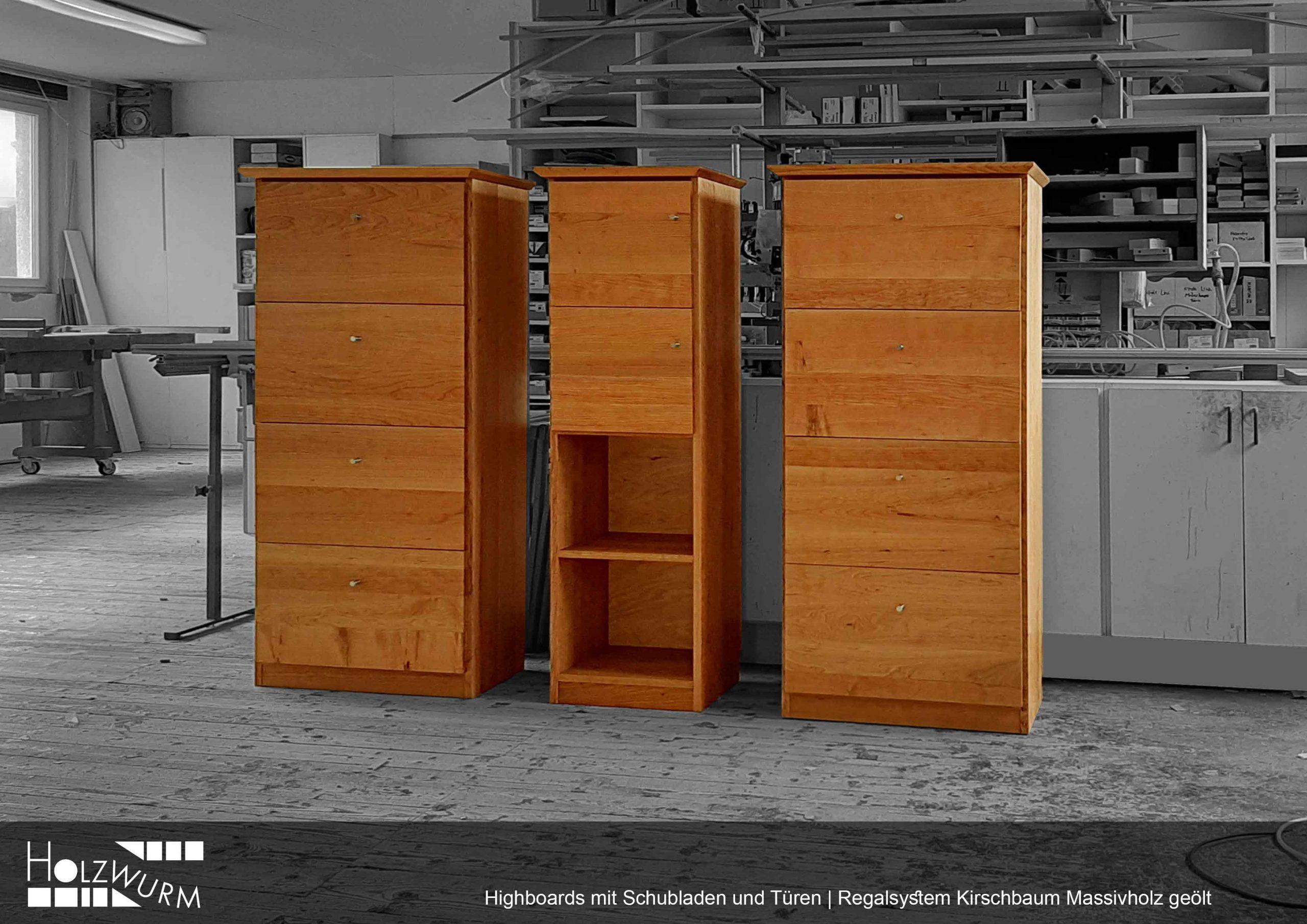 Drei Highboards mit Schubladen und Türen in Kirschbaum Massivholz