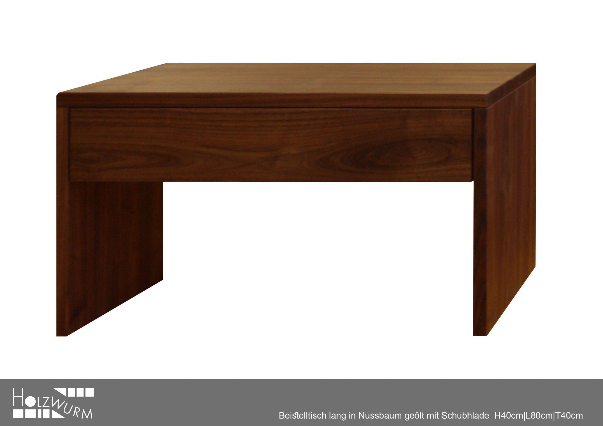Nachttisch mit Schublade in Nussbaum Massivholz geölt