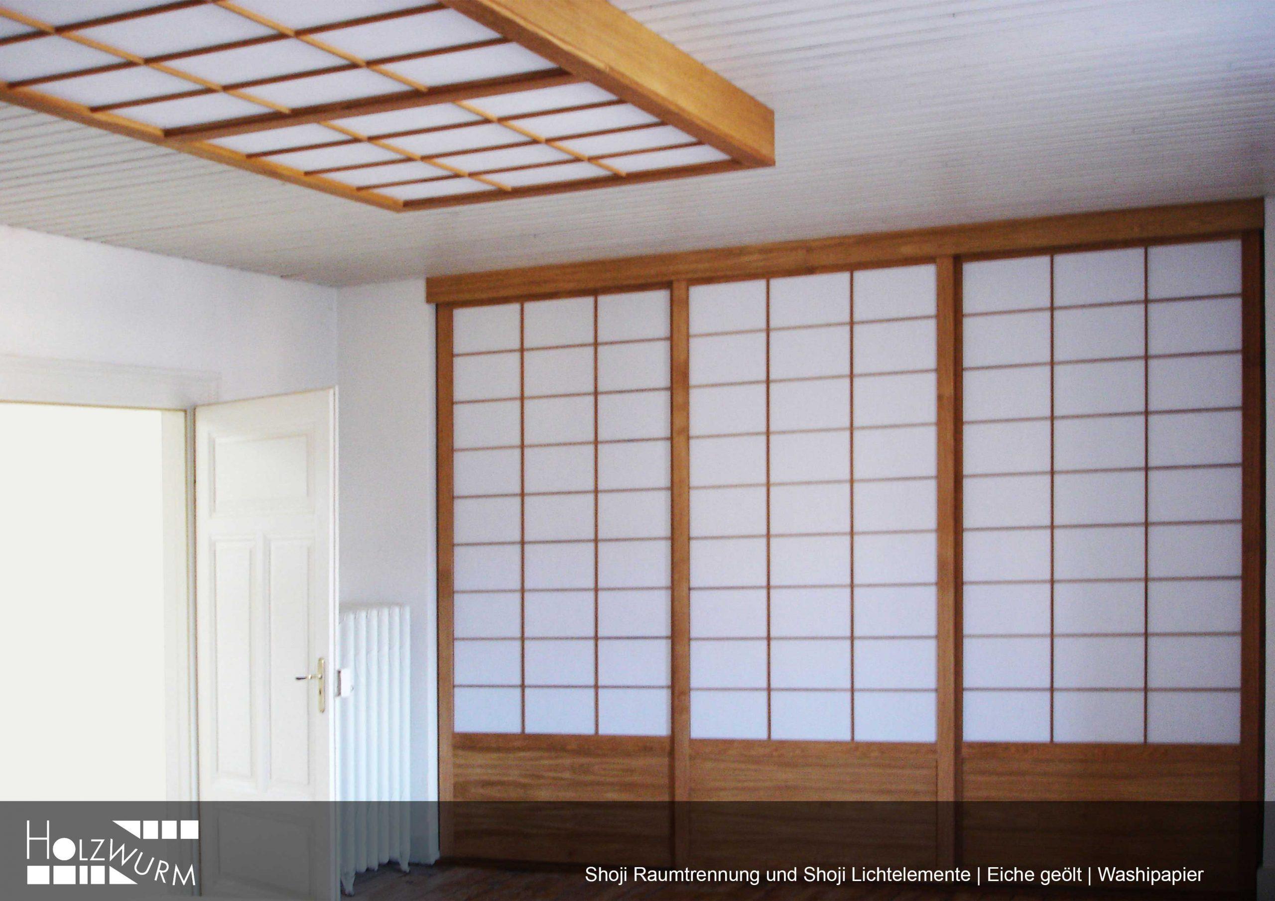 Shoji Raumtrennung und Lichtelemente in Eiche geölt mit Washibespannung