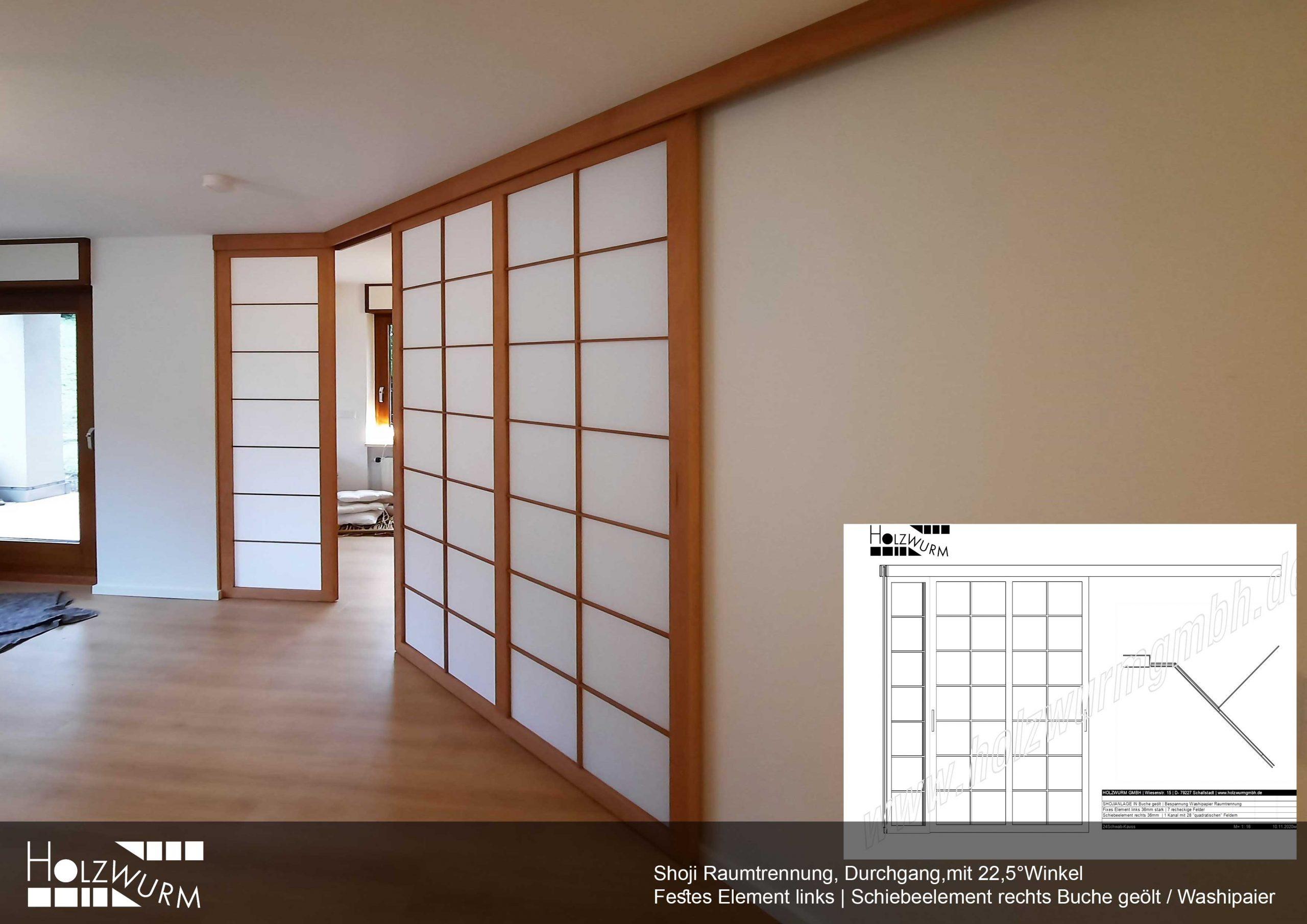 Shoji Raumteiler mit schrägem Anshluss Buche