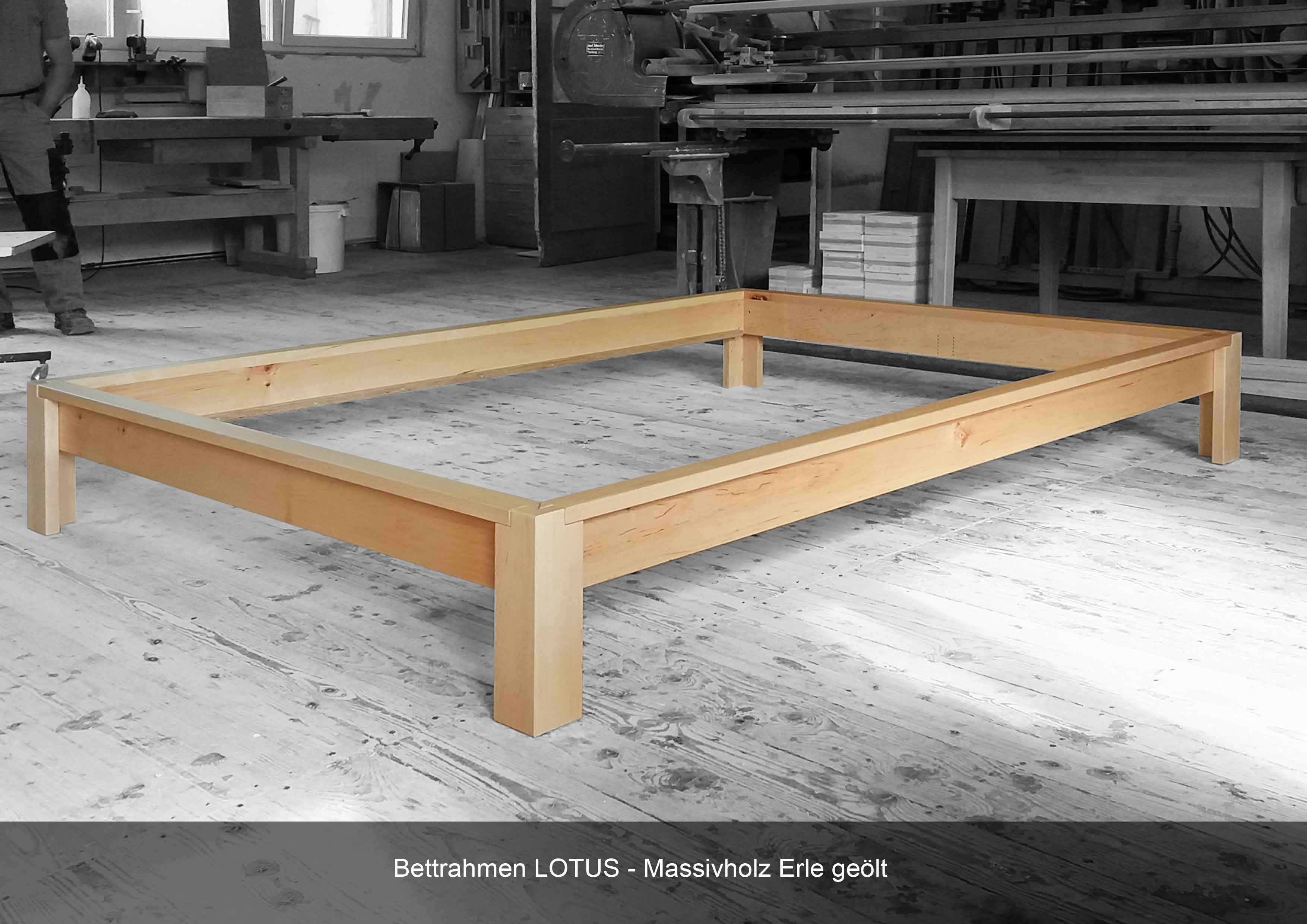 Bettrahmen in 'Erle Massivholz in Werkstatt