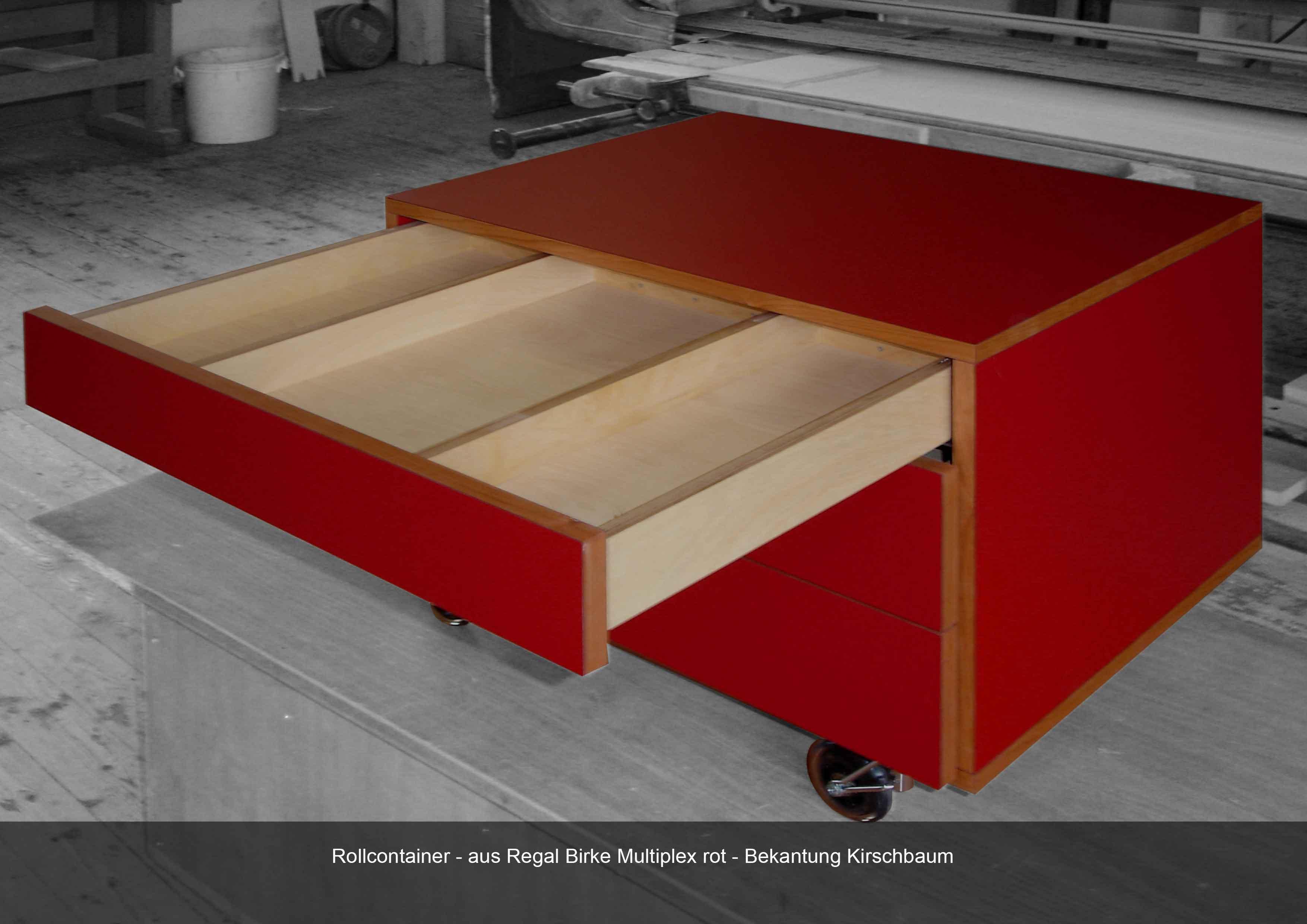 Schriebcontainer in Birke Multiplex rot belegt