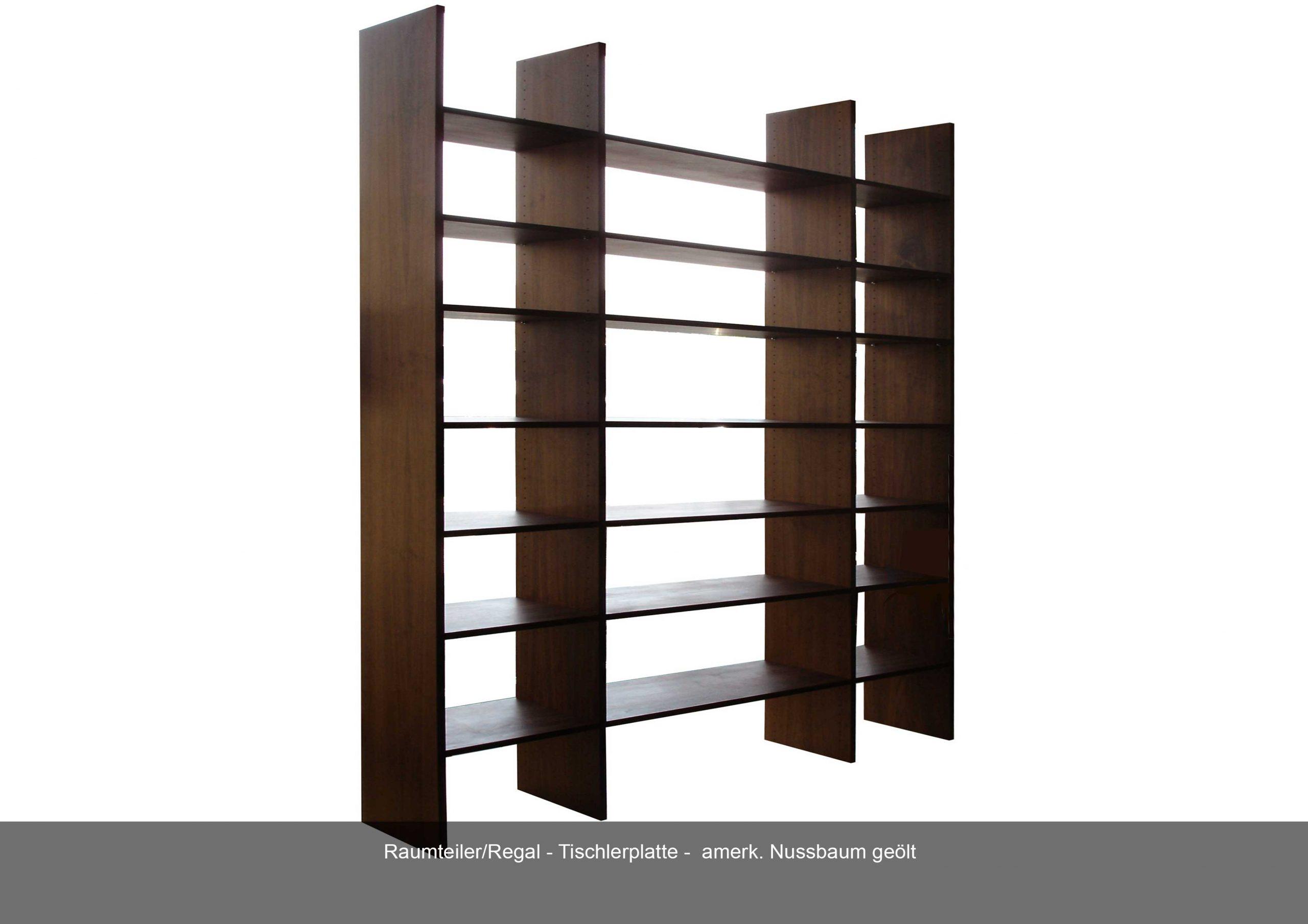 Raumteiler Regal Tischlerplatte Nussbaum geölt
