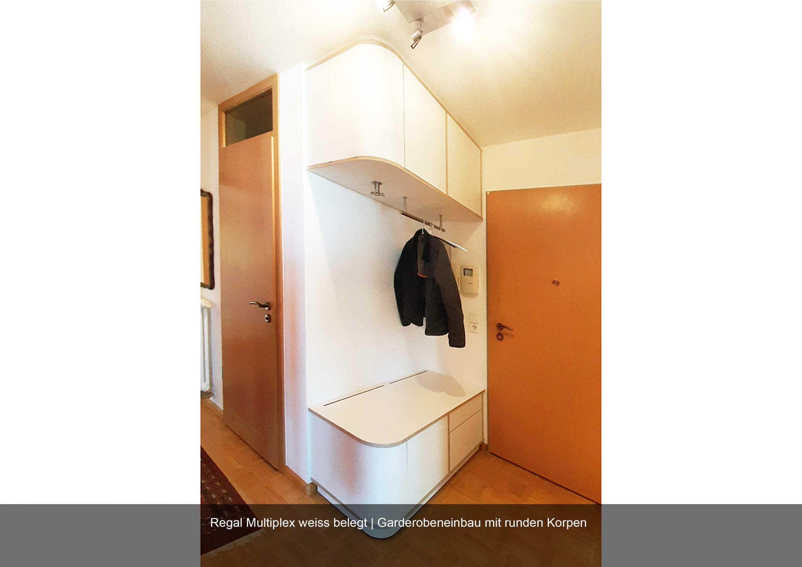 Garderobe weiss Massanfertigung Regal rund Multiplex