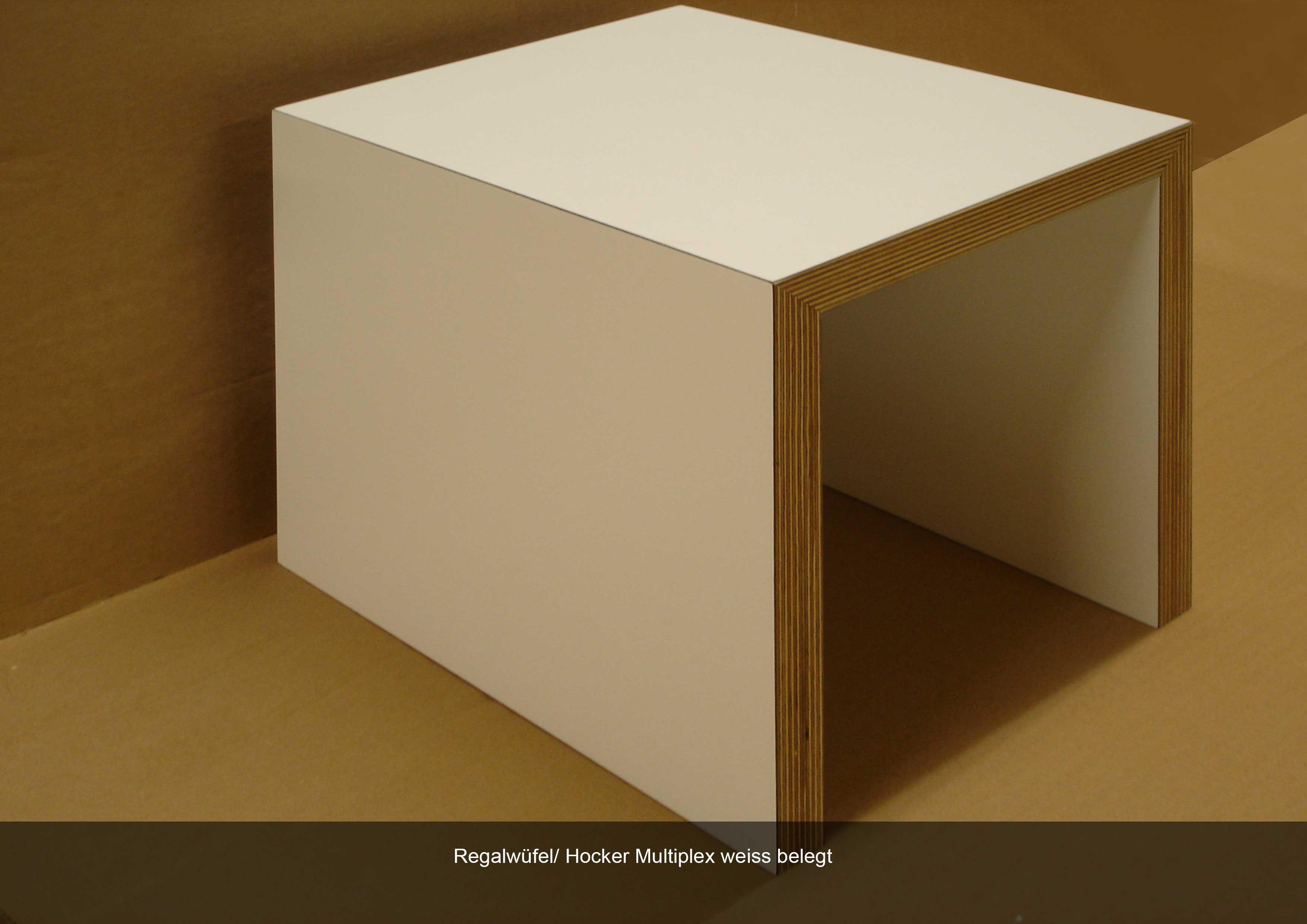 Regalwürfel als Hocker weiss Multiplex
