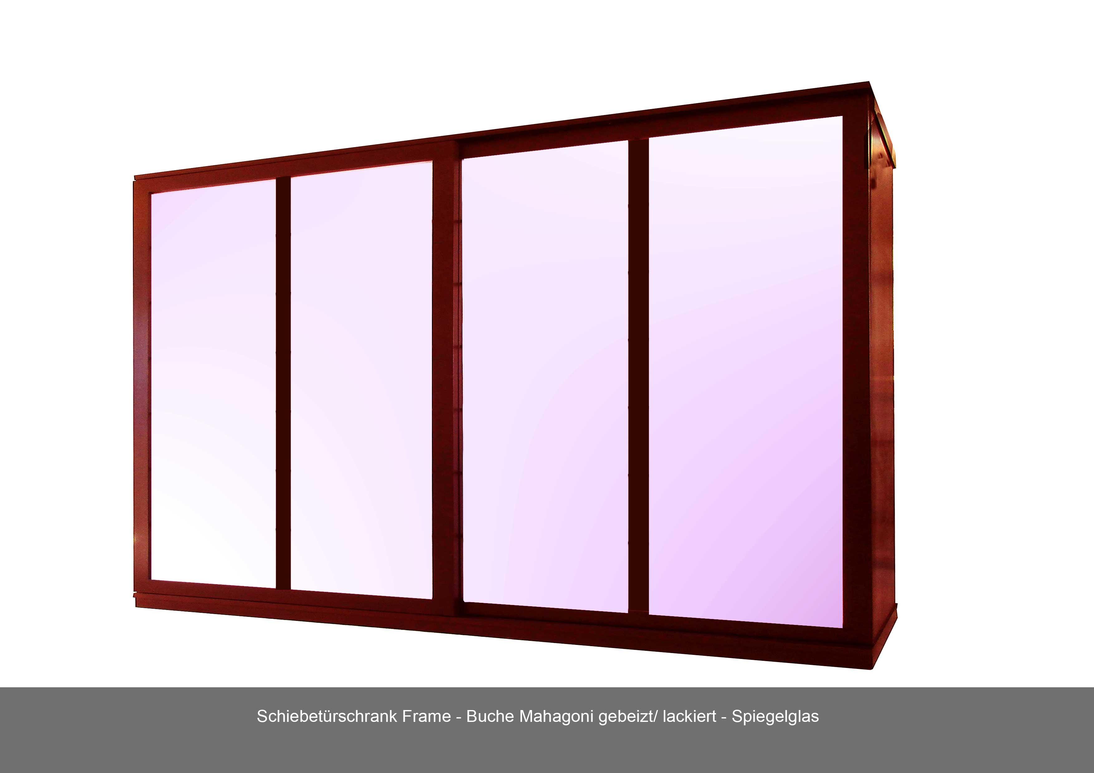 Schiebetuerschrank Naturholz Mahagoni Spiegelglas