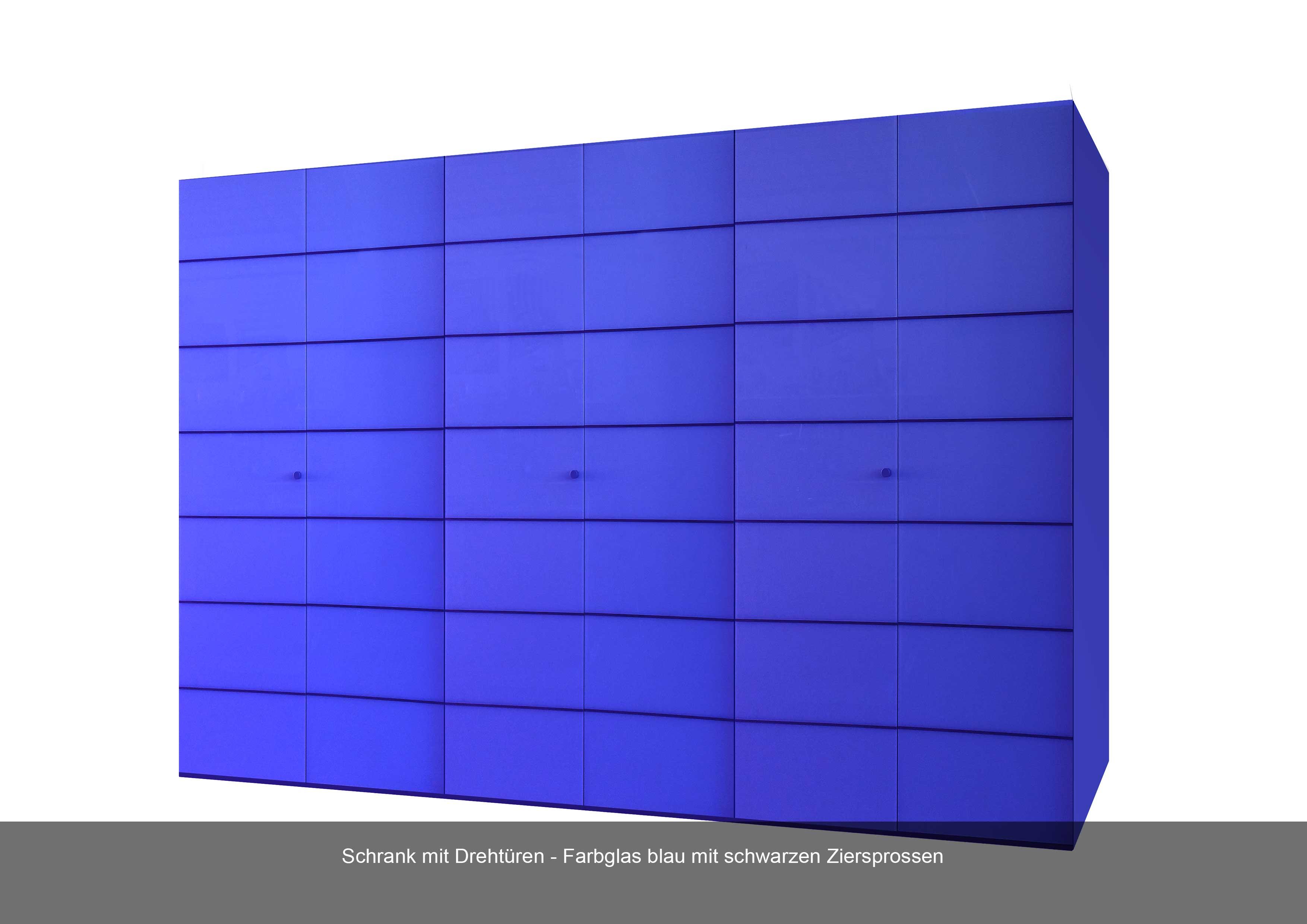 Schrank mit Drehtüren in Farbglas blau