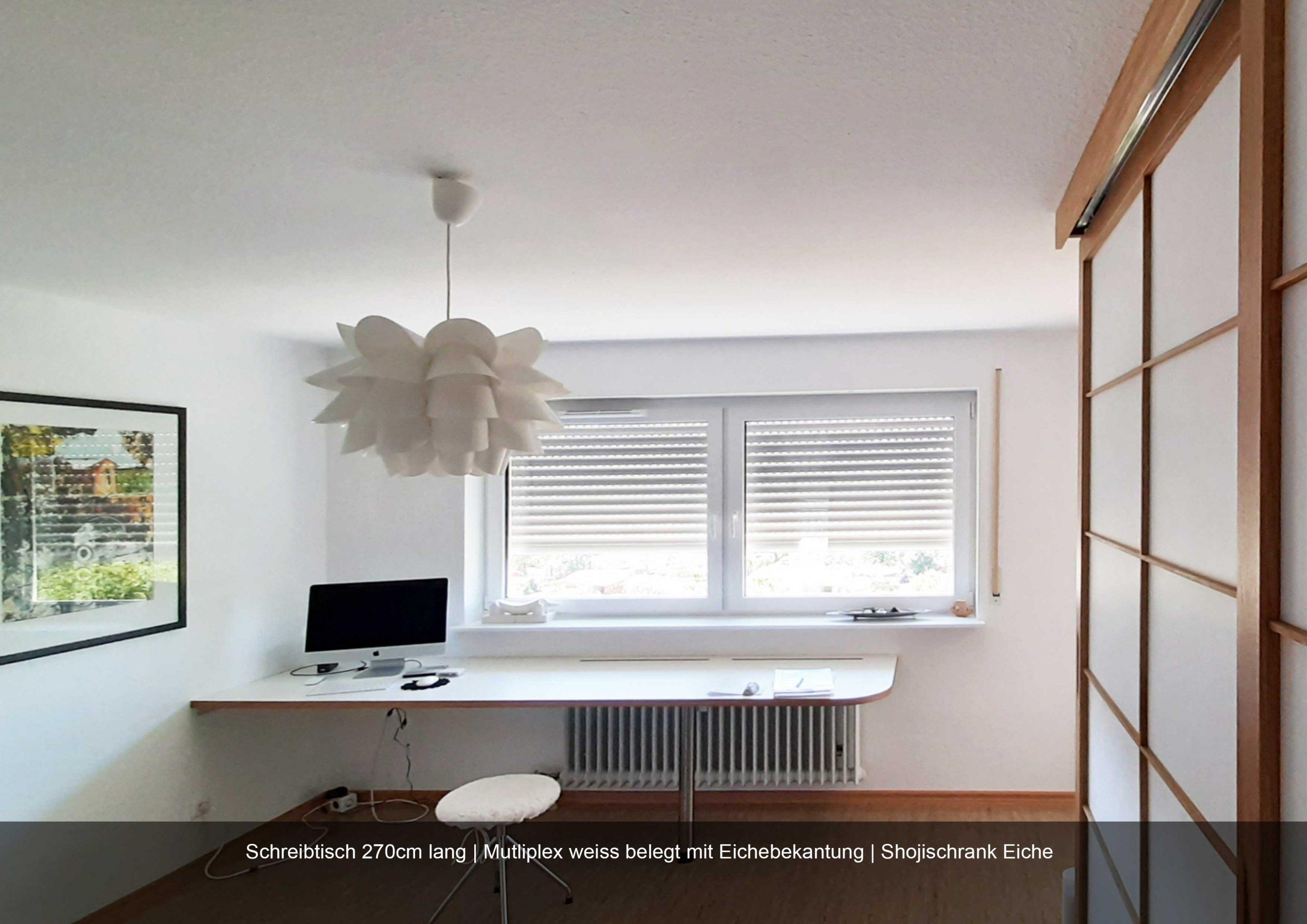 Schreibtisch weiss lang 270 cm Eichebekanntung Multiplex Shojischrank Eiche