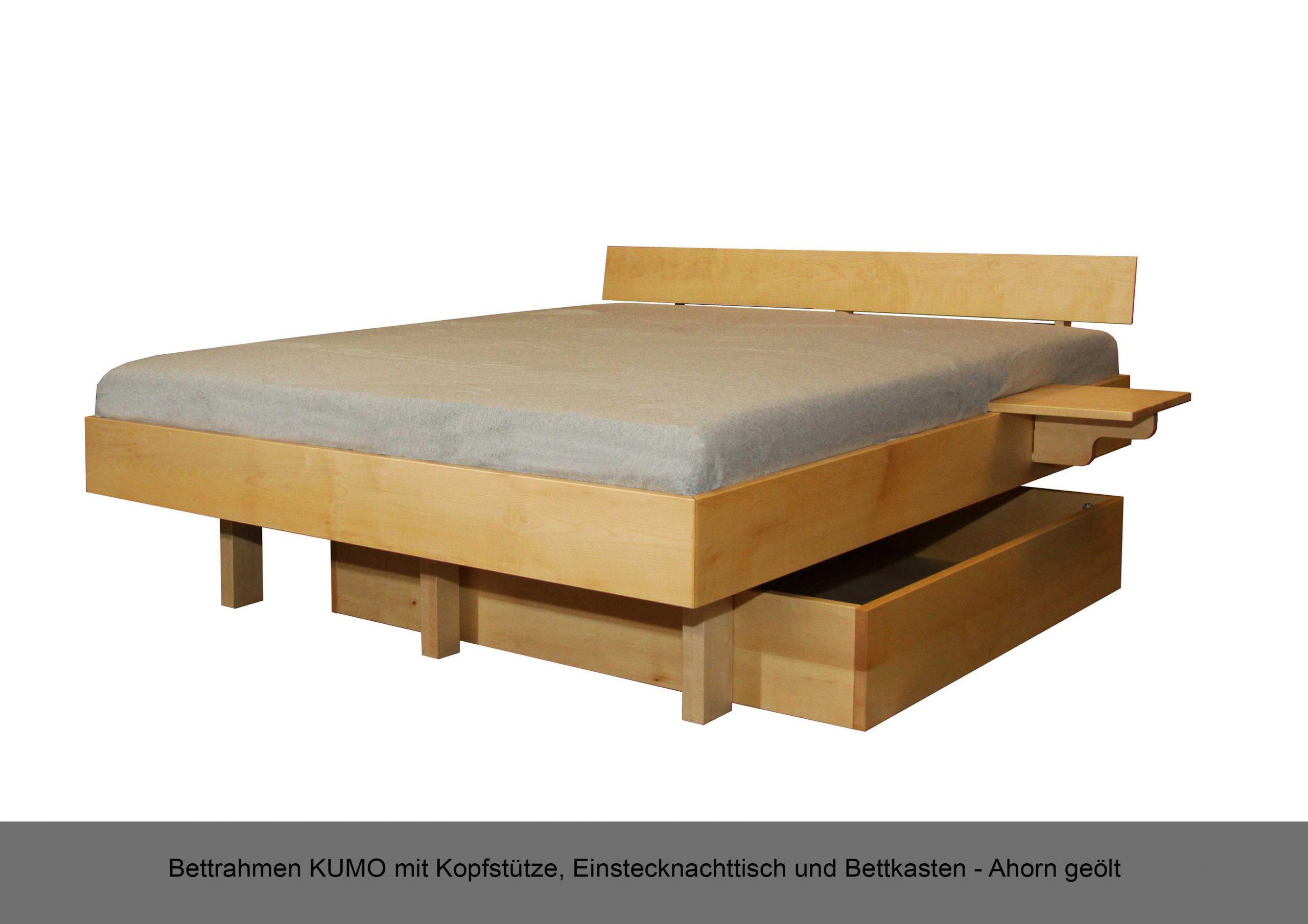 Schwebebettrahmen Massivholz Bettkasten Nachttisch Einstecknachttisch Kopfstütze KUMO Ahorn geölt