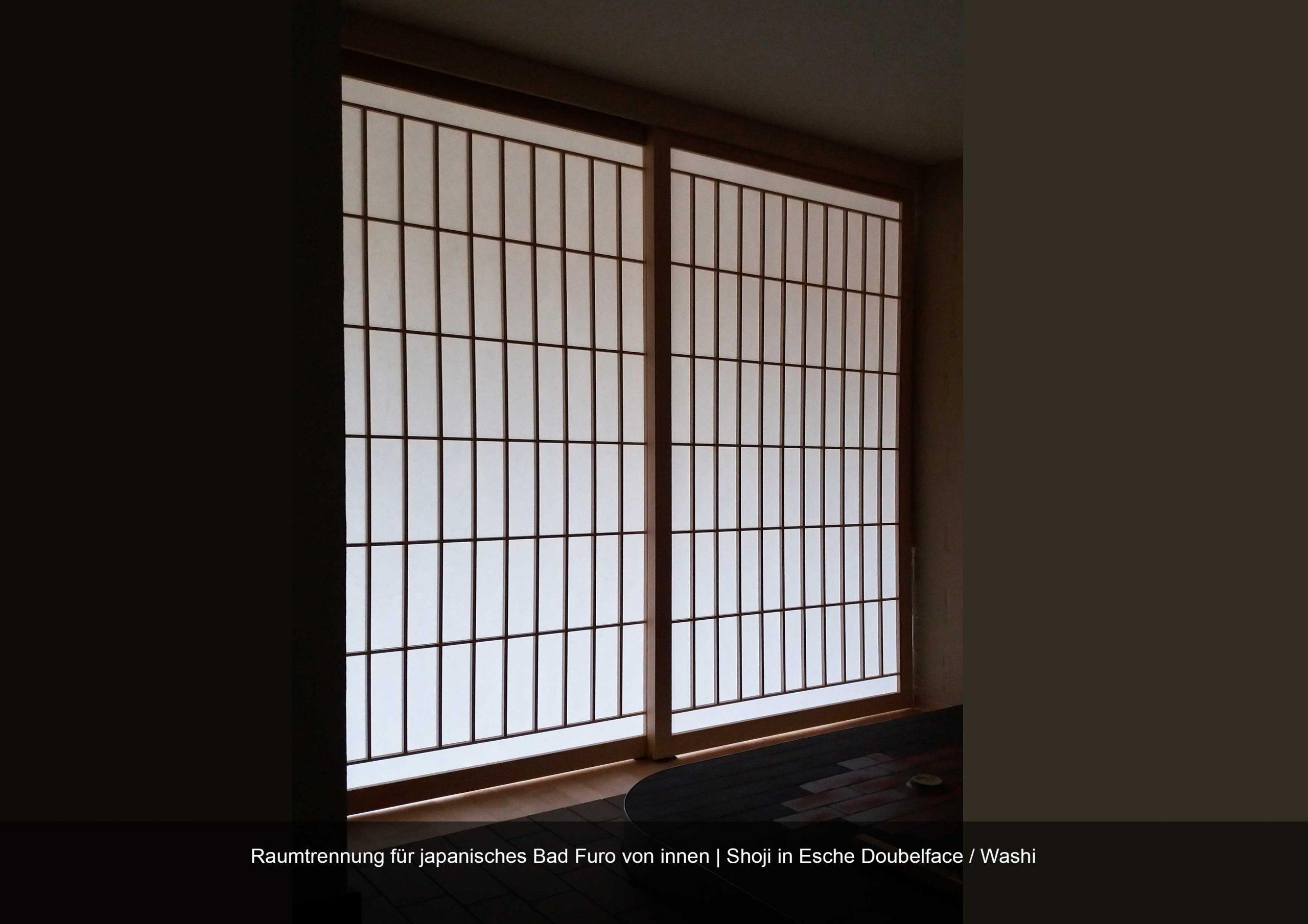 Shoji Raumtrennung Massivholz Esche geölt Bespannung Washipapier